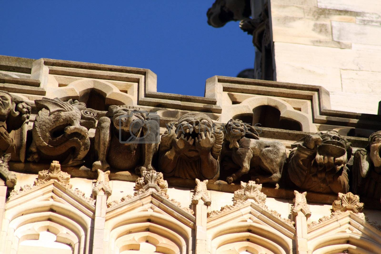 Five gargoyles found on the side of Chester Cathedral