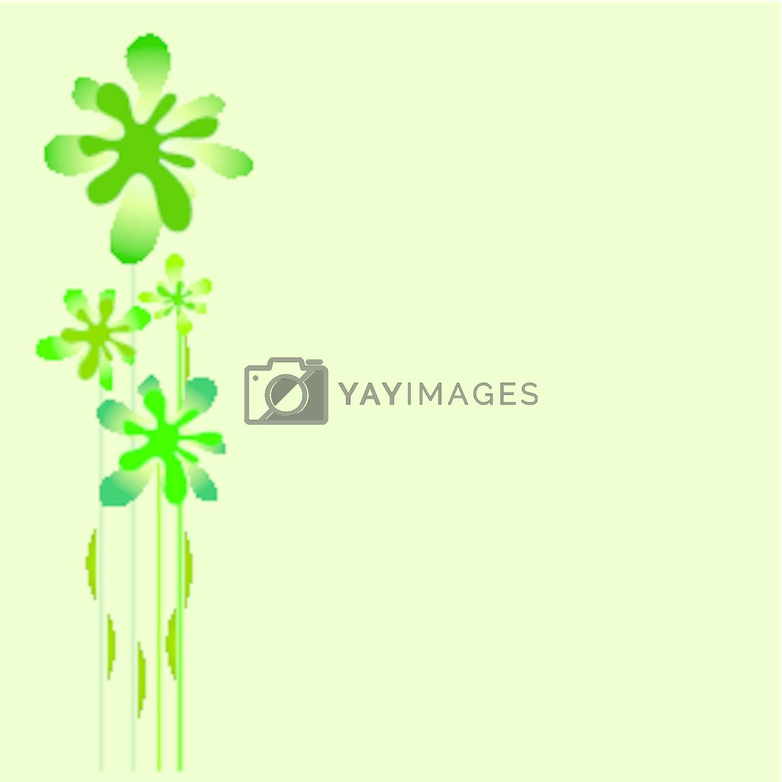 Vector drawing representing flowers or green leaves