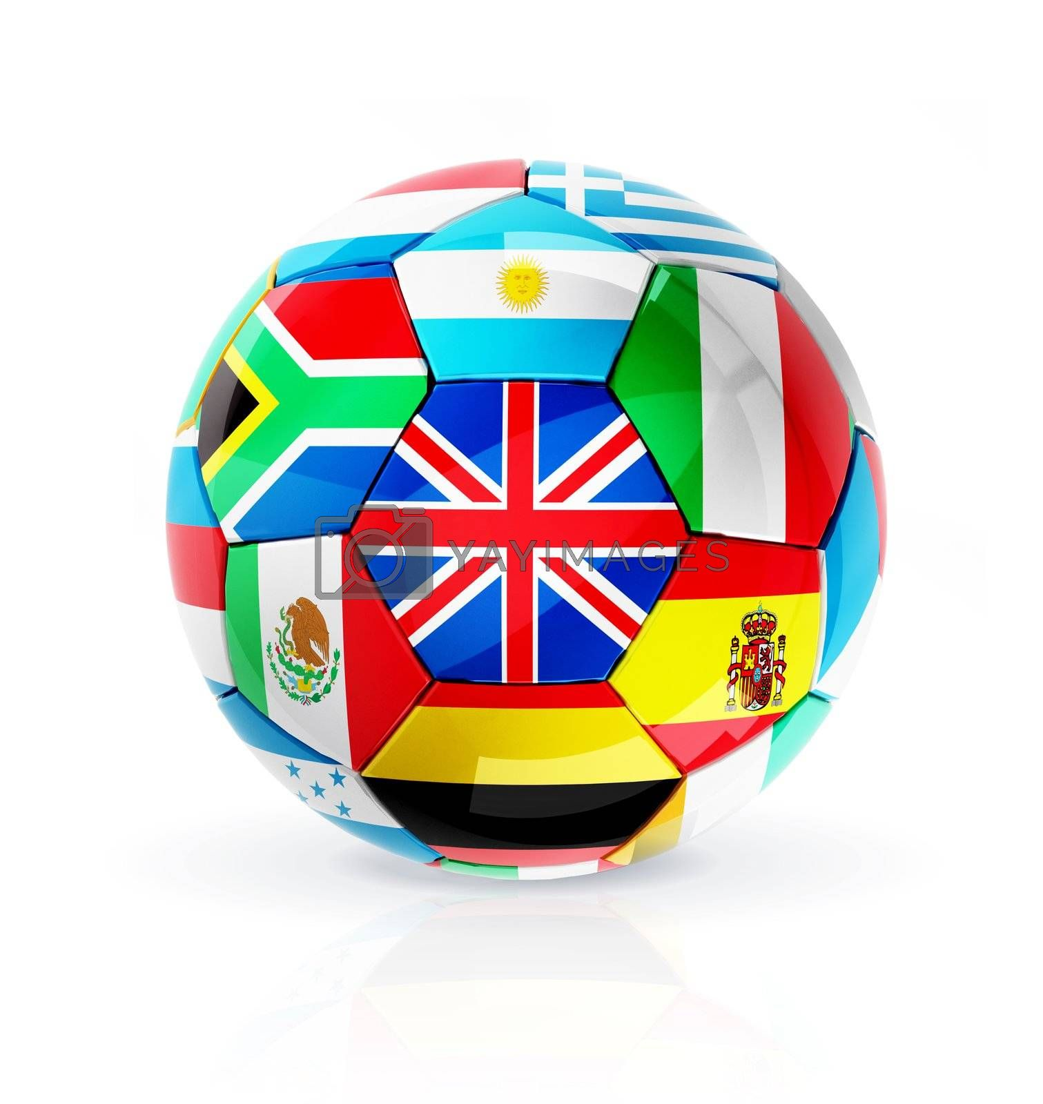 Soccer ball from flag with reflection and shadow on white background. 3D render
