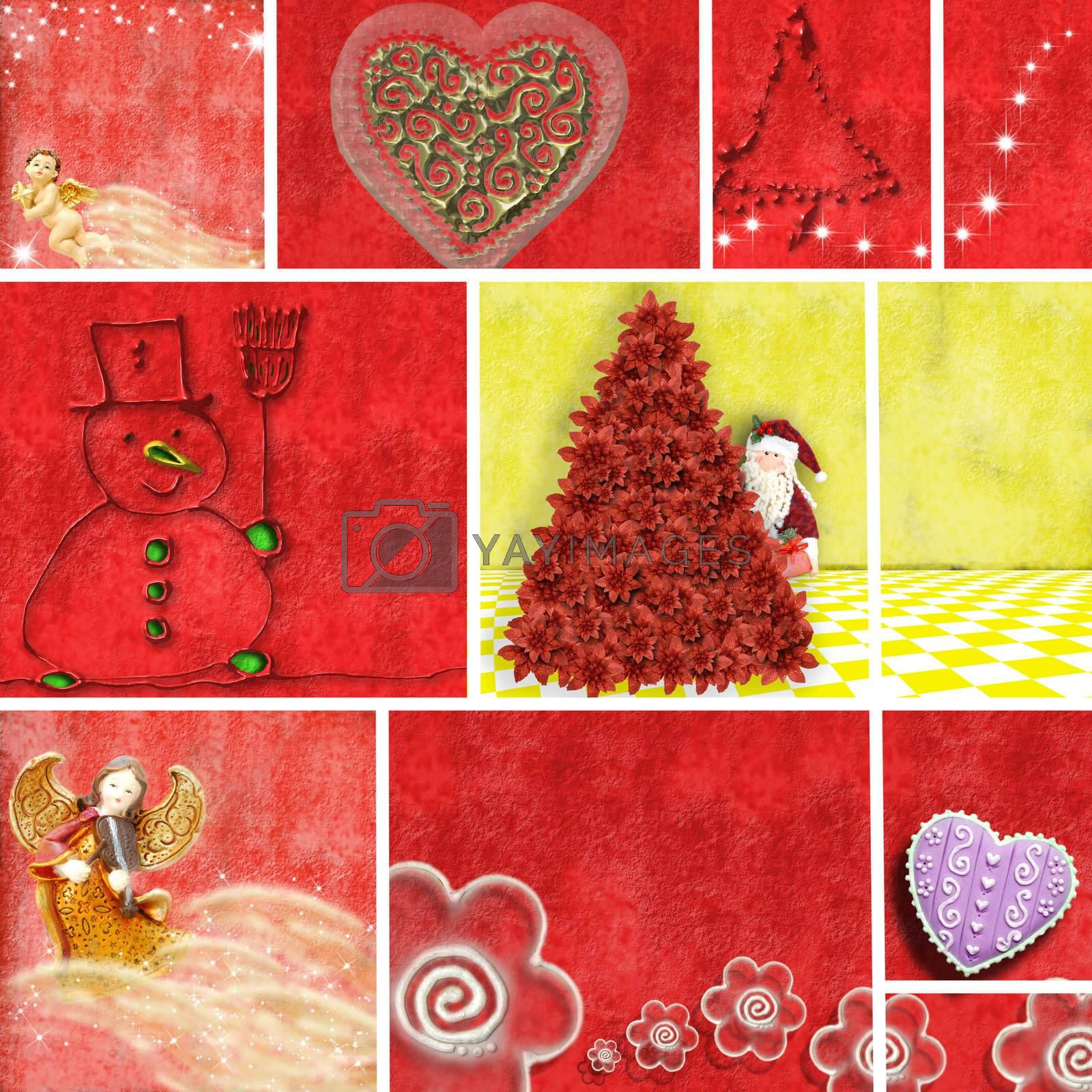 Christmas collage illustrations in shades of red and yellow
