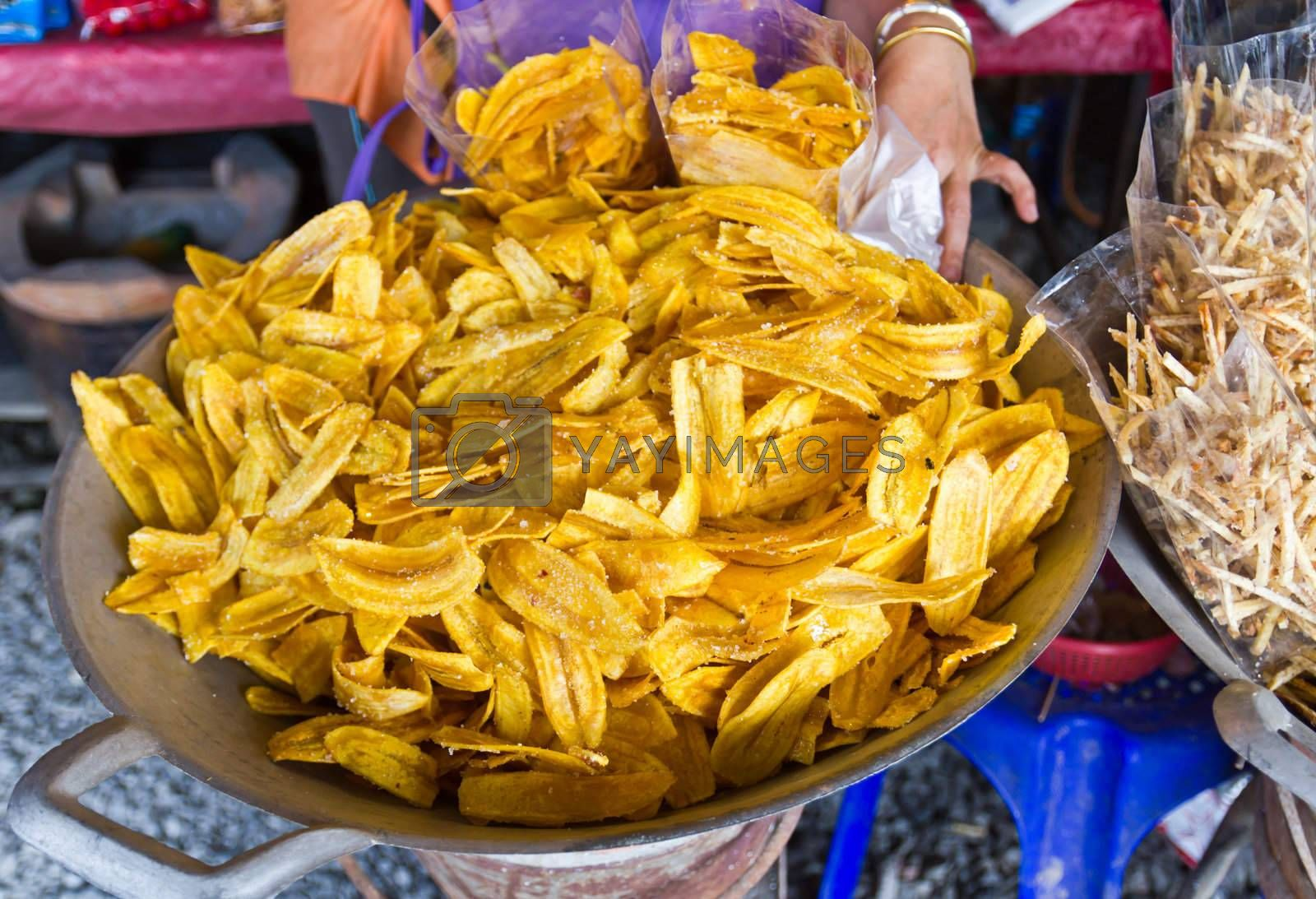Banana chip for sale in the market
