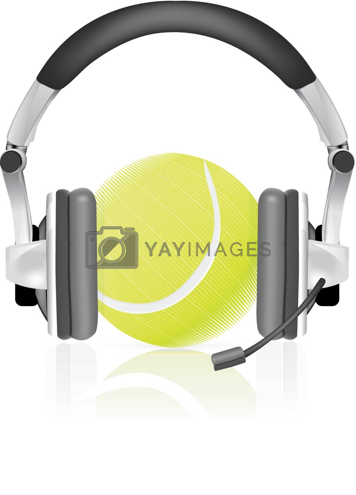 Tennis concept, ball in headphones, as commentator on white background