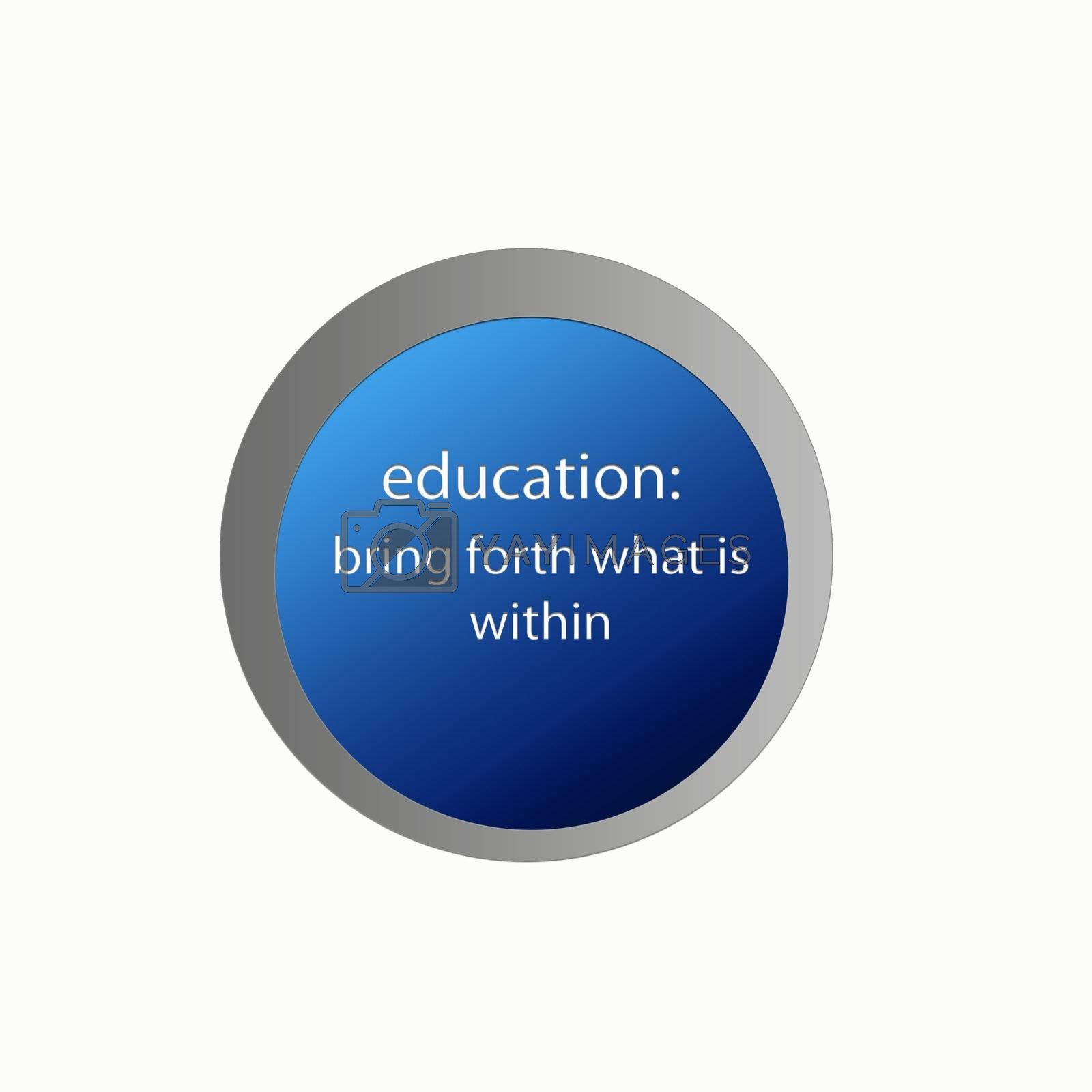 Button with education text embossed - illustration digital.