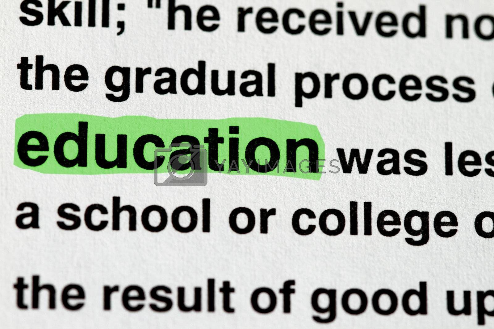 The word education highlighted in green - many uses in education industry.