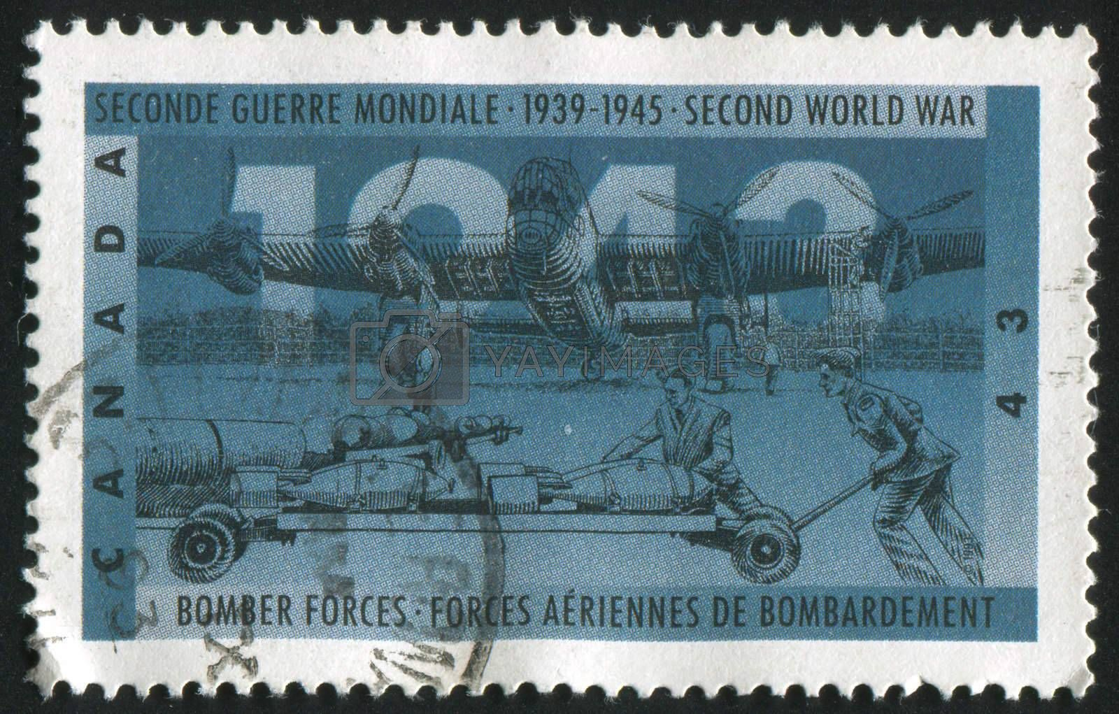 CANADA - CIRCA 1993: stamp printed by Canada, shows Bomber forces, circa 1993