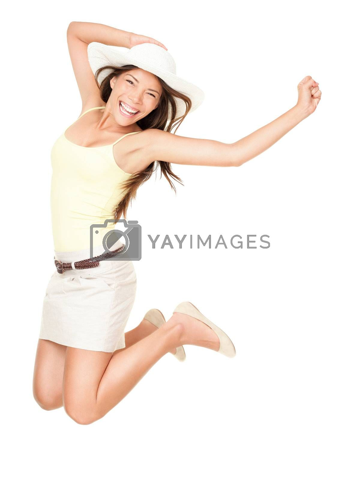 Summer woman jumping of joy excited. Beautiful mixed race woman isolated on white background. Asian Chinese and Caucasian ethnicity.