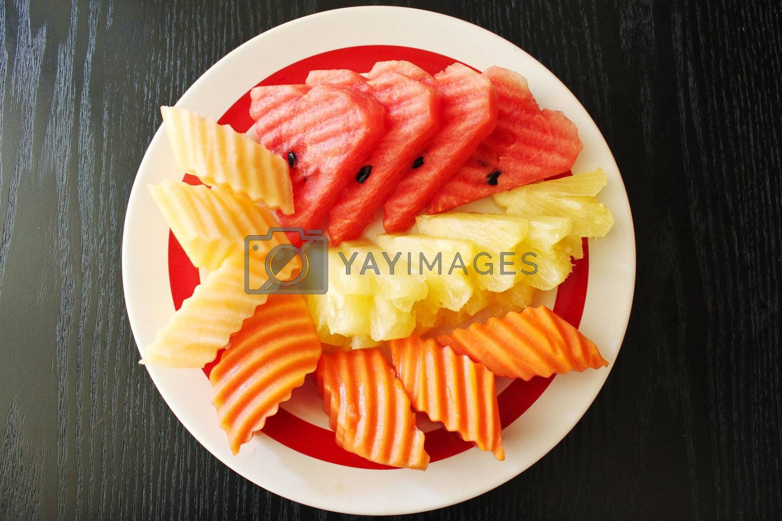 Thai fruits carving on plate