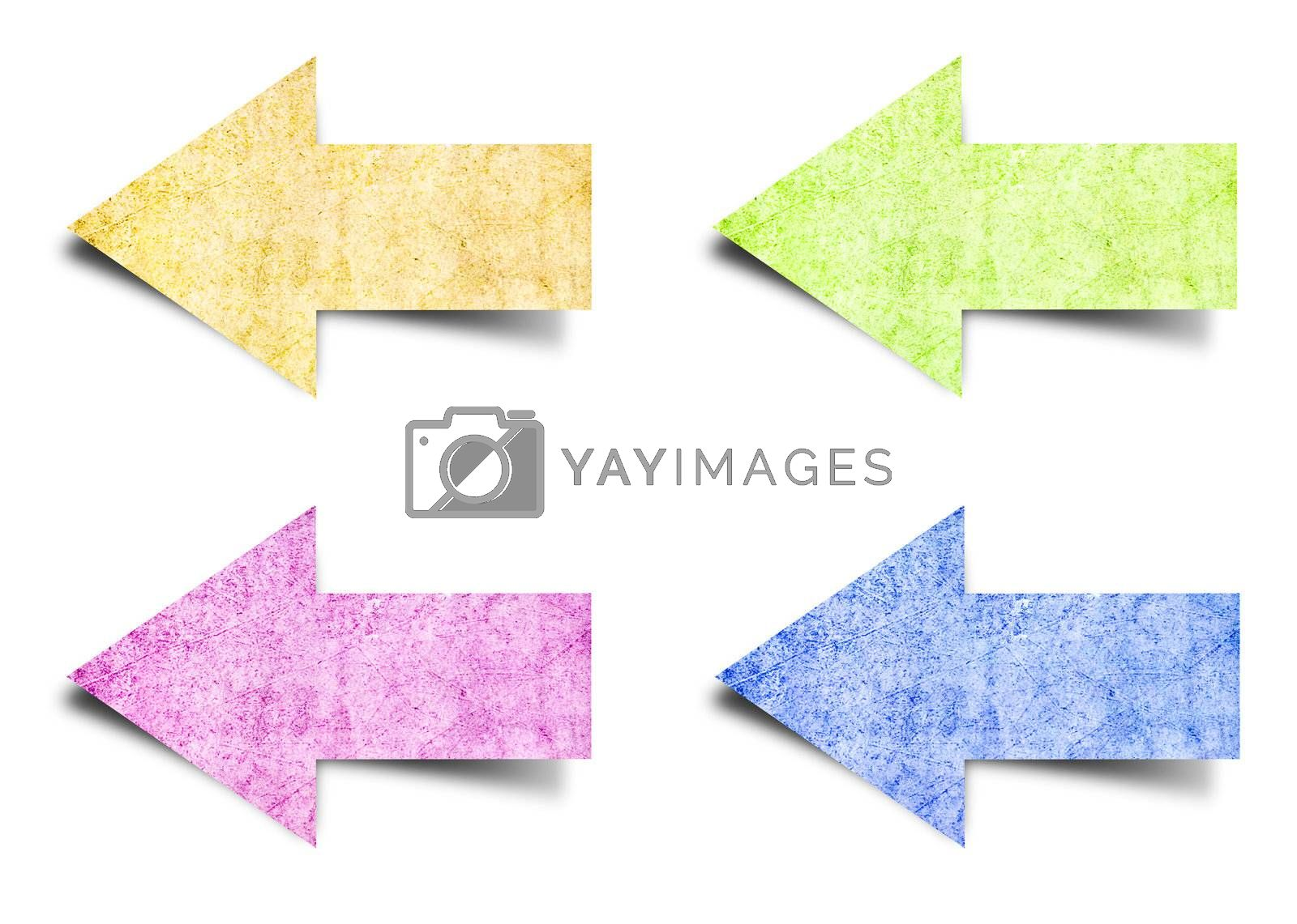 arrow tag vintage paper isolated on white background