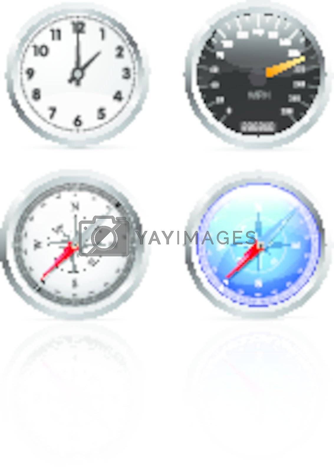Glossy clock, speedometer and compass set illustration on white background