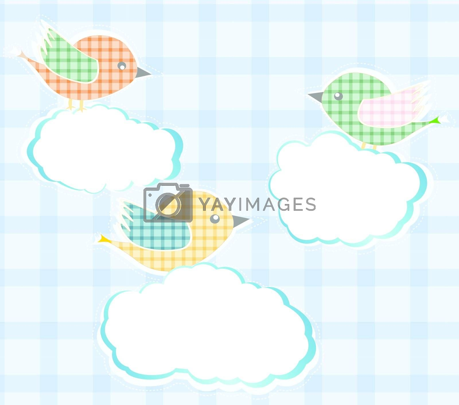 birds sitting on the clouds in sky. vector card