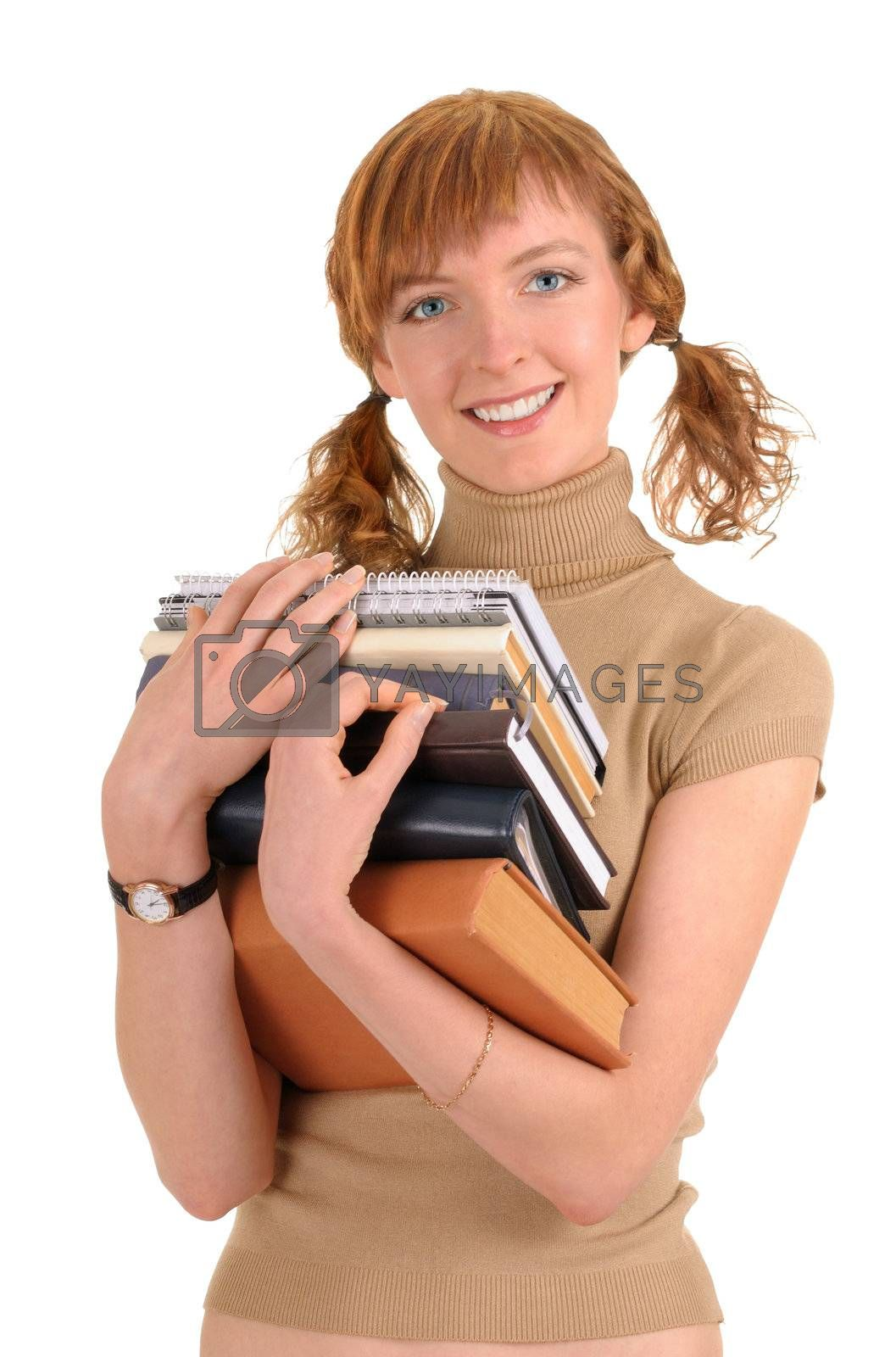 girl holding a book on white background