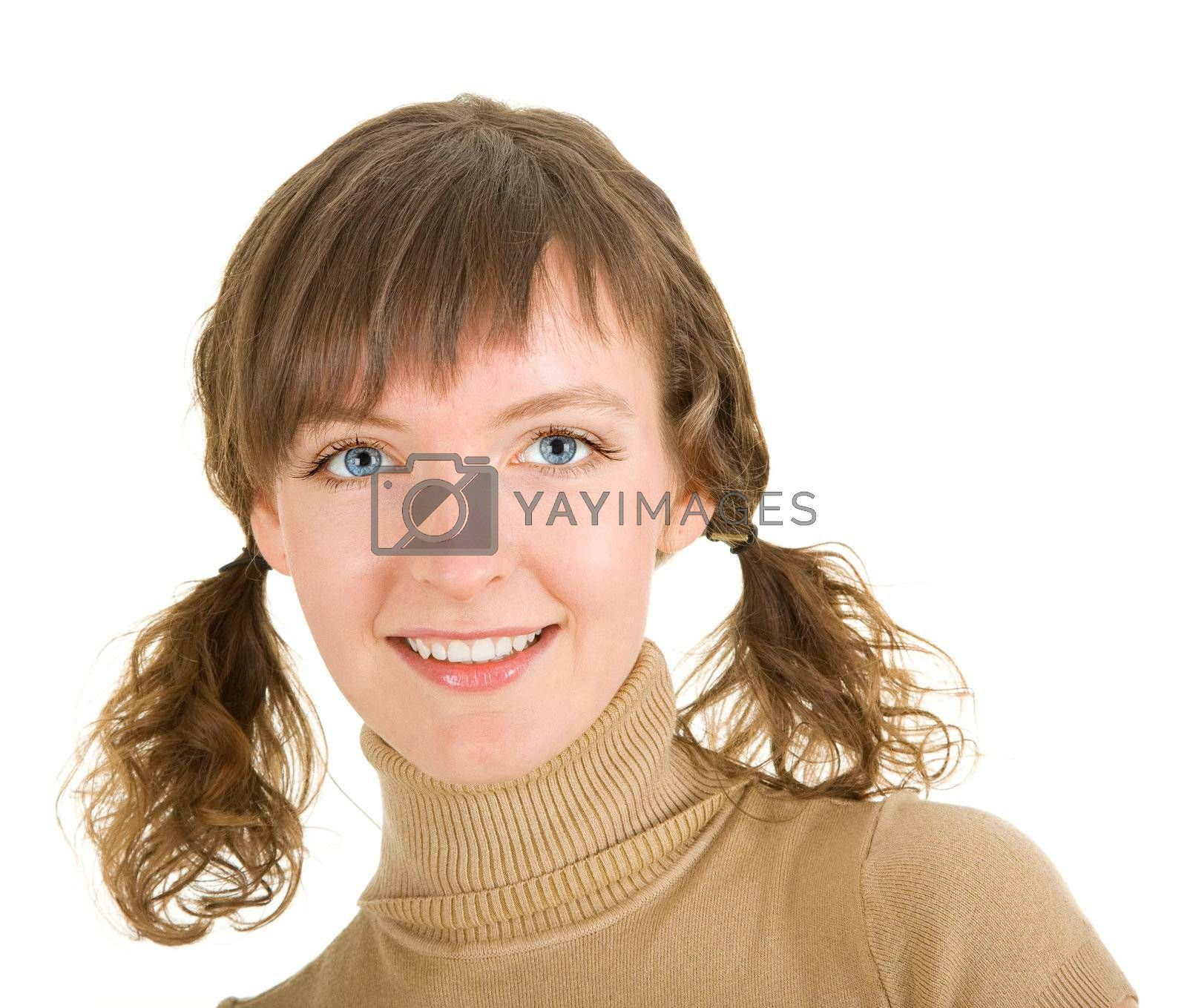 girl with braids on a white background