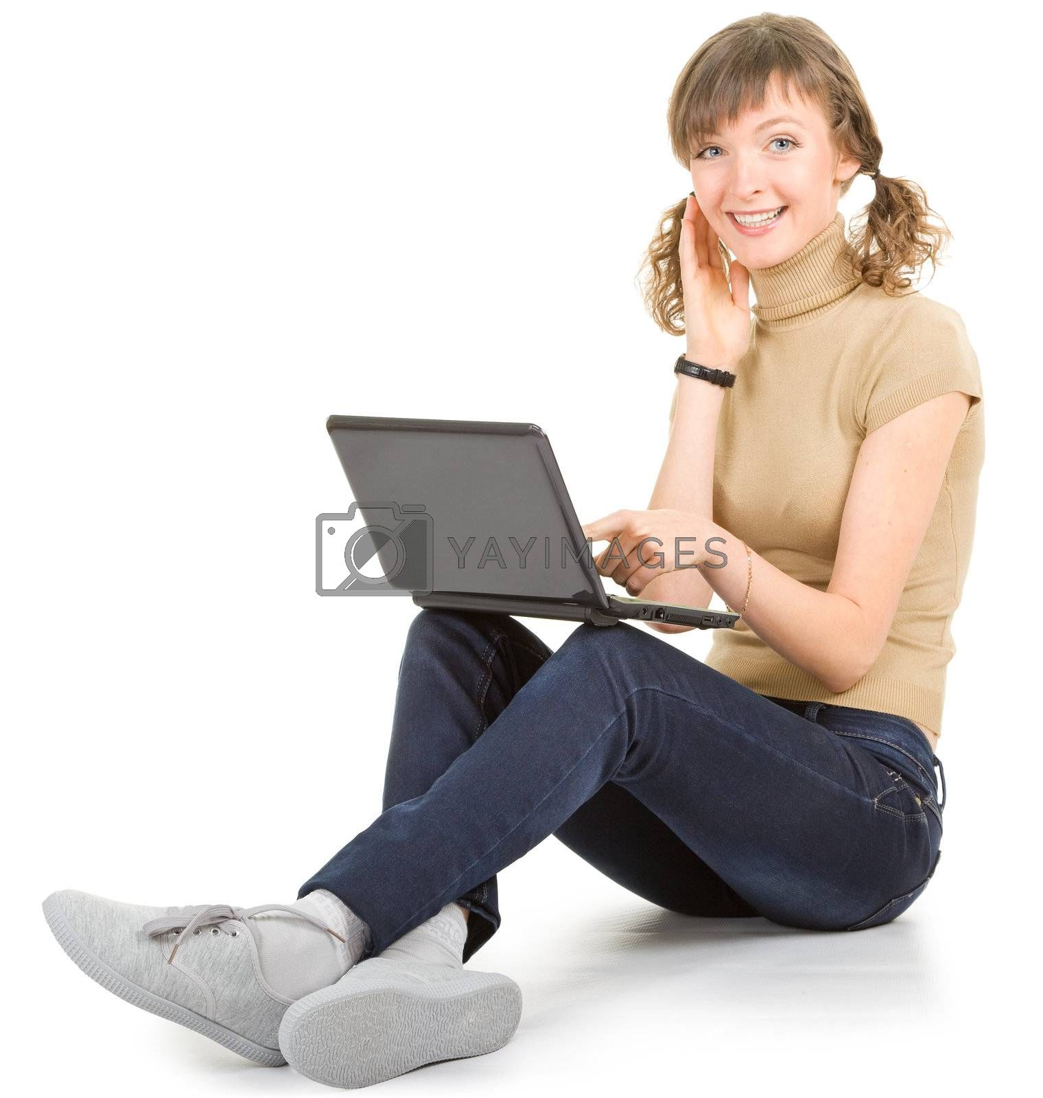 girl (student) with a laptop on a white background