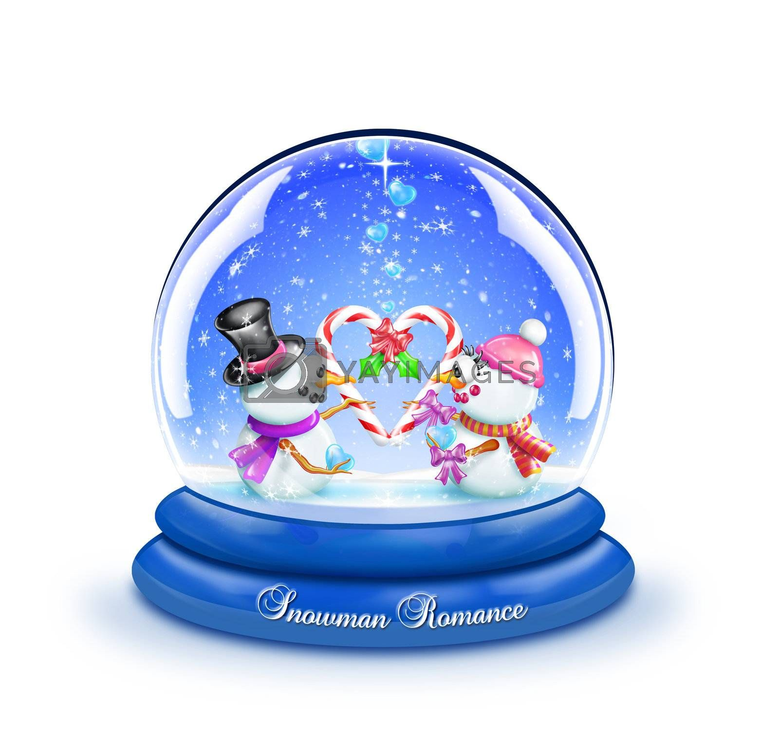 A snow globe with two snowmen holding candy canes in the shape of a heart.