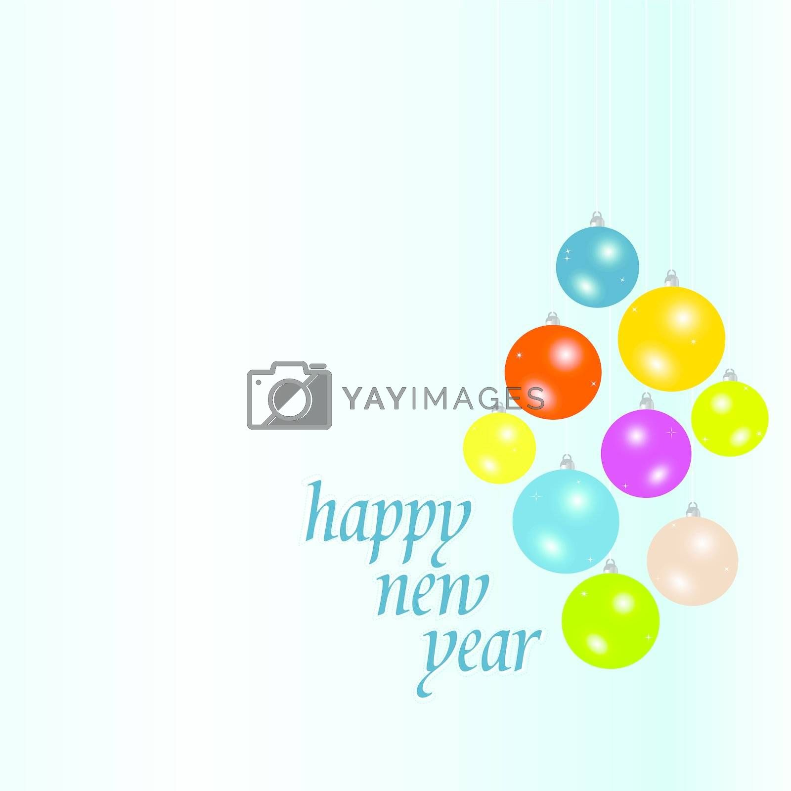 Christmas and new year card with balls vector