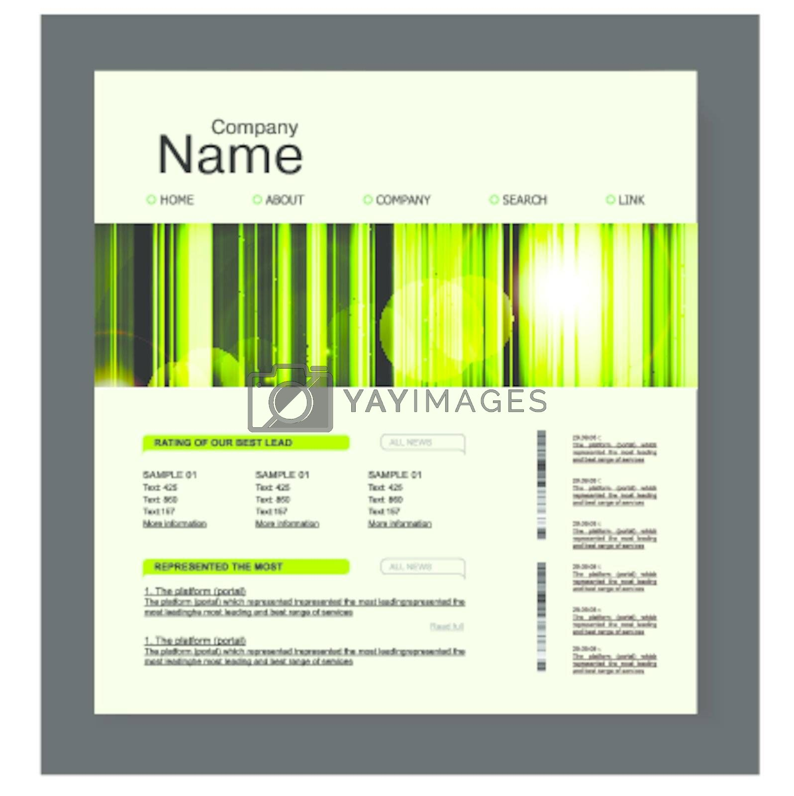 Website design template, in green, nature style. Vector illustration