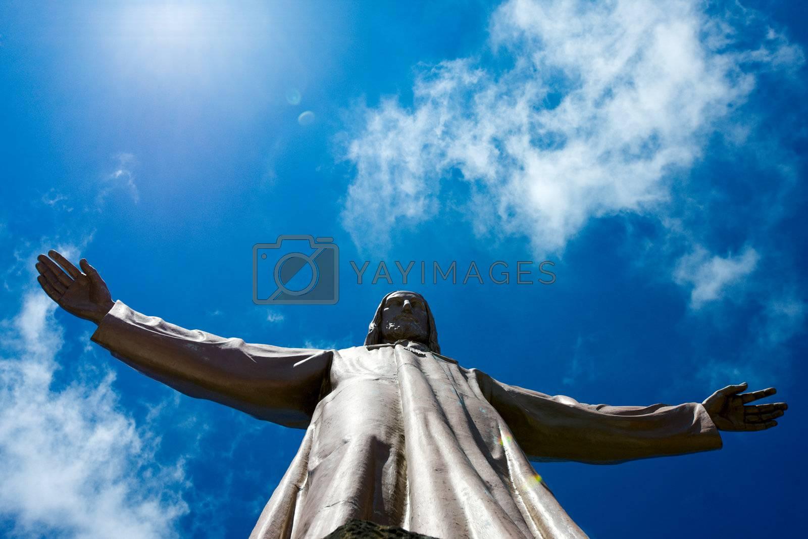 Jesus Christ sculpture on top of Sagrat Corazon chirch on Tibidabo mountain,Barcelona,Spain