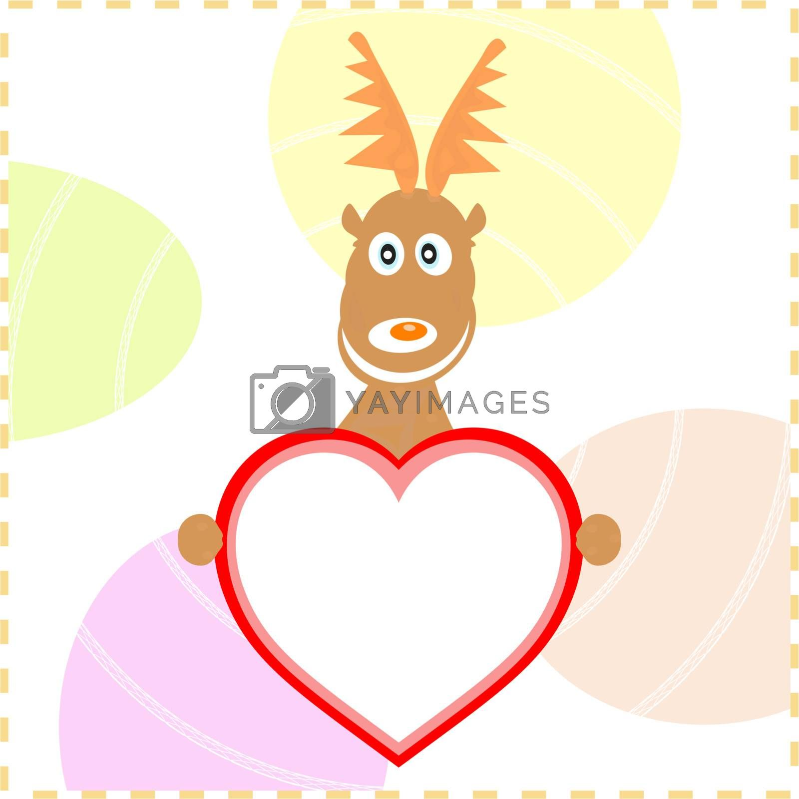 vector xmas rudolph deer holding love heart card for text
