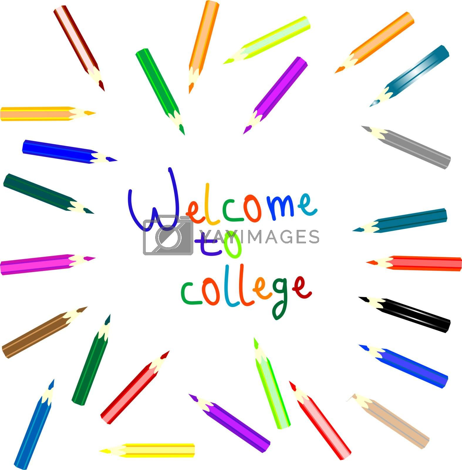 anouncement to welcome to college writen colored pencils