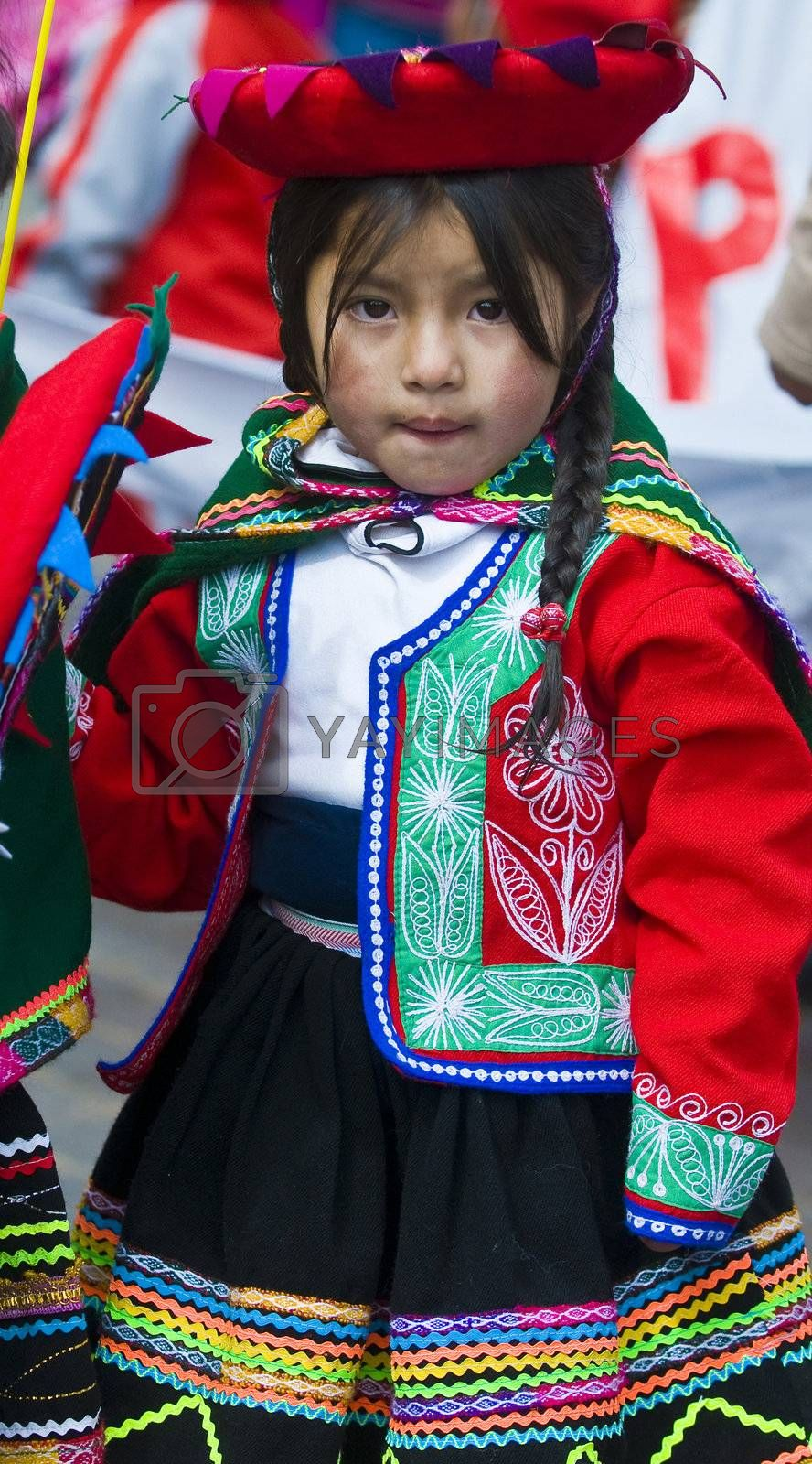 "Cusco , Peru - May 25 : young participant in the ""public education day""  held in Cusco Peru on May 25 2011"