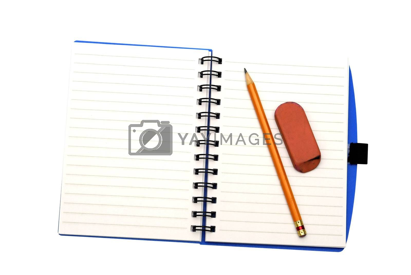 Notebook pencil and eraser isolated on a white background