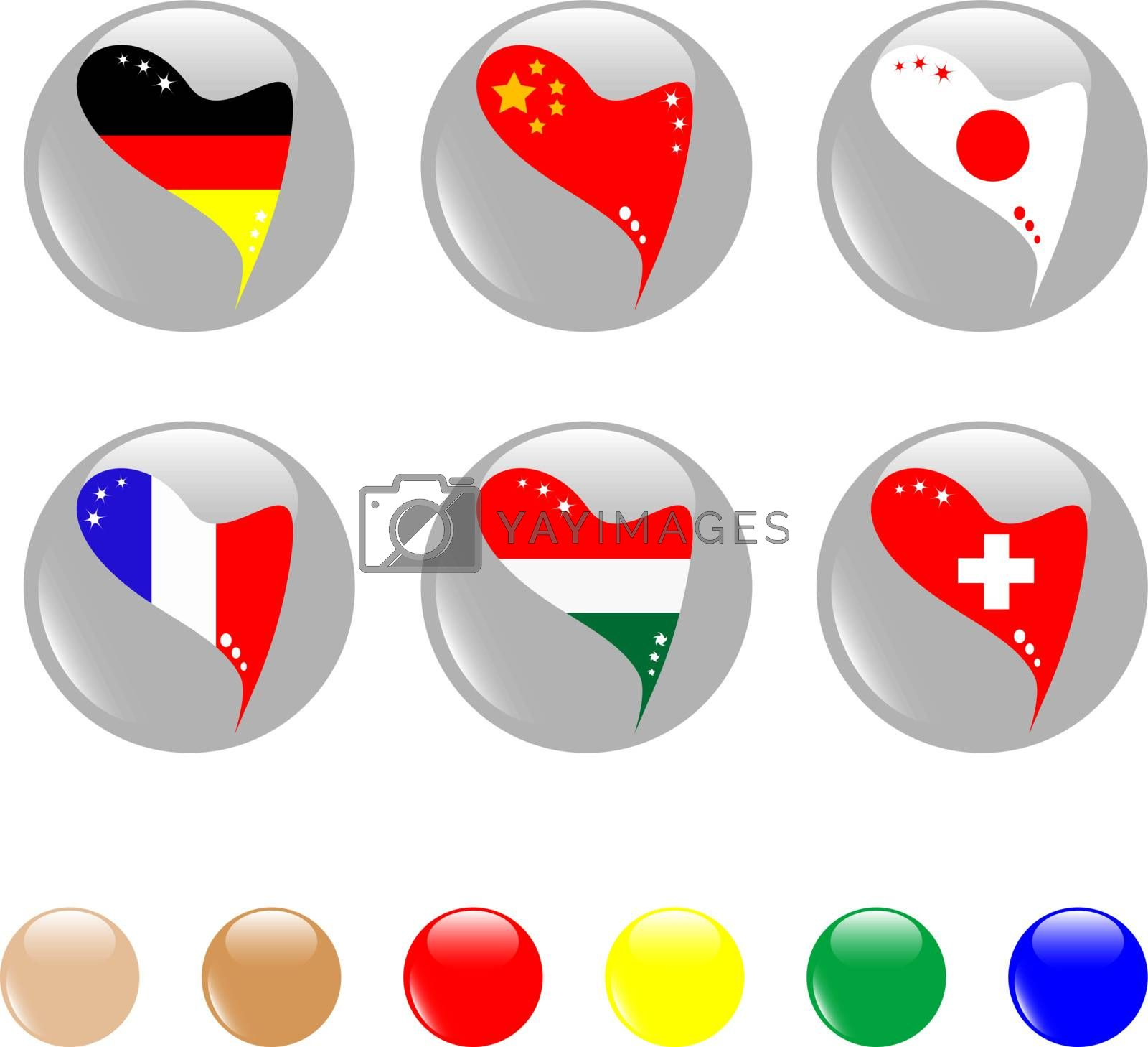 set of national flags icon shiny button - vector
