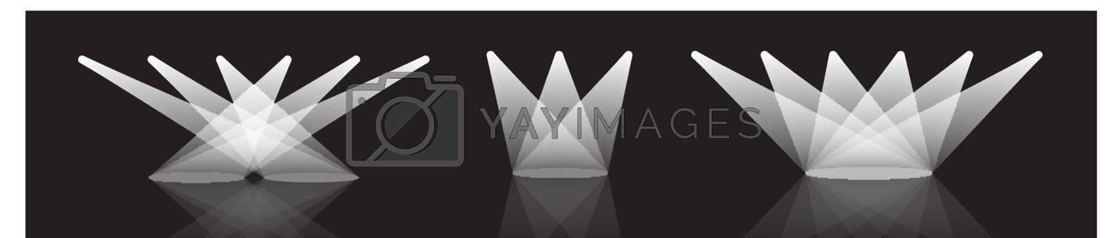 Spotlight vector set illustration with reflection on black background