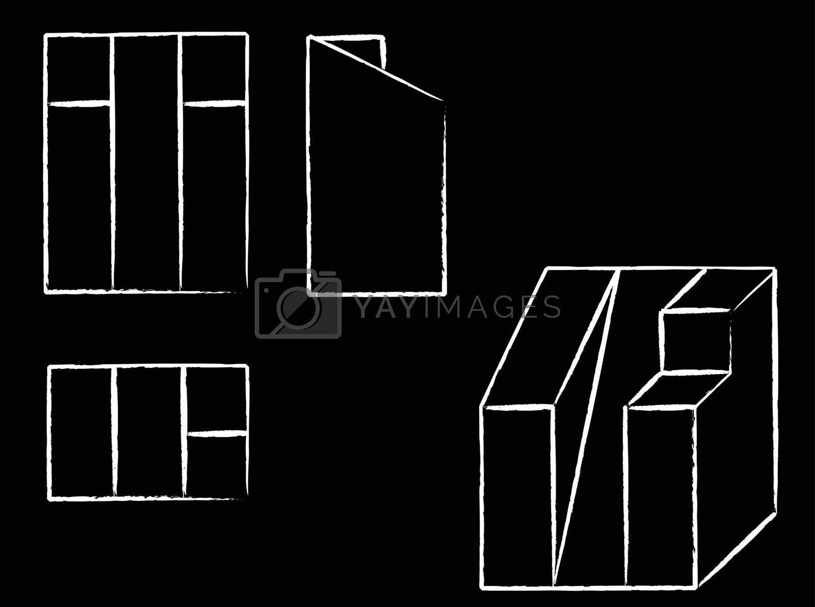 set sketch of geometric figures vector illustration