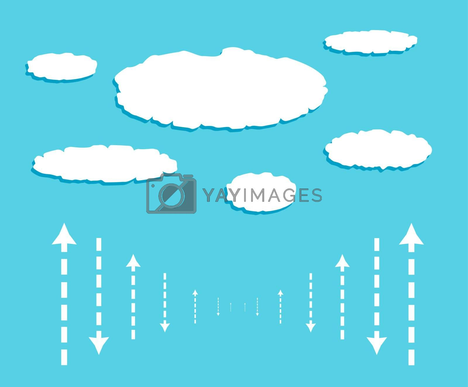 Cloud computing diagram with data signals in form of arrows