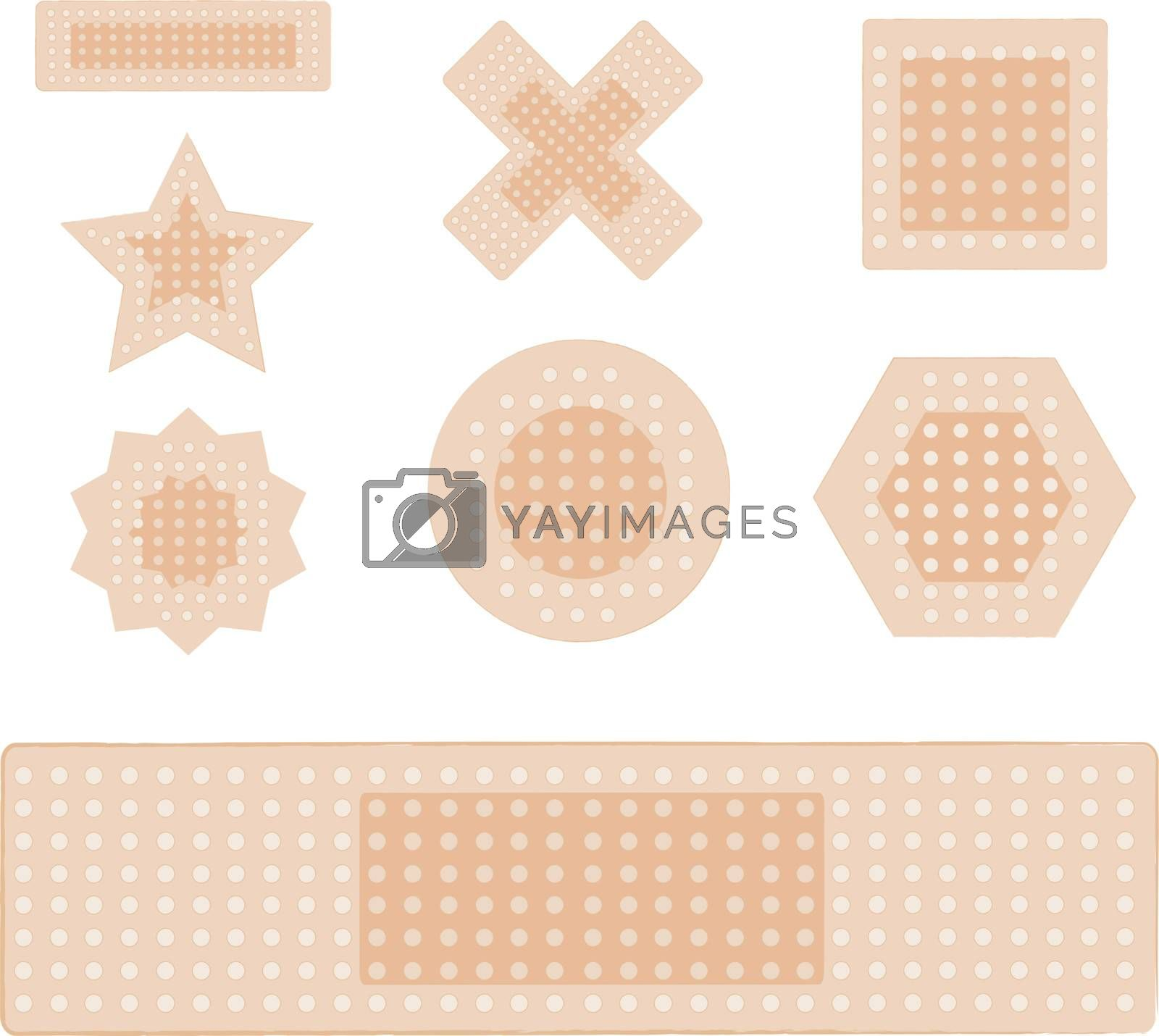 set of plasters isolated on white background