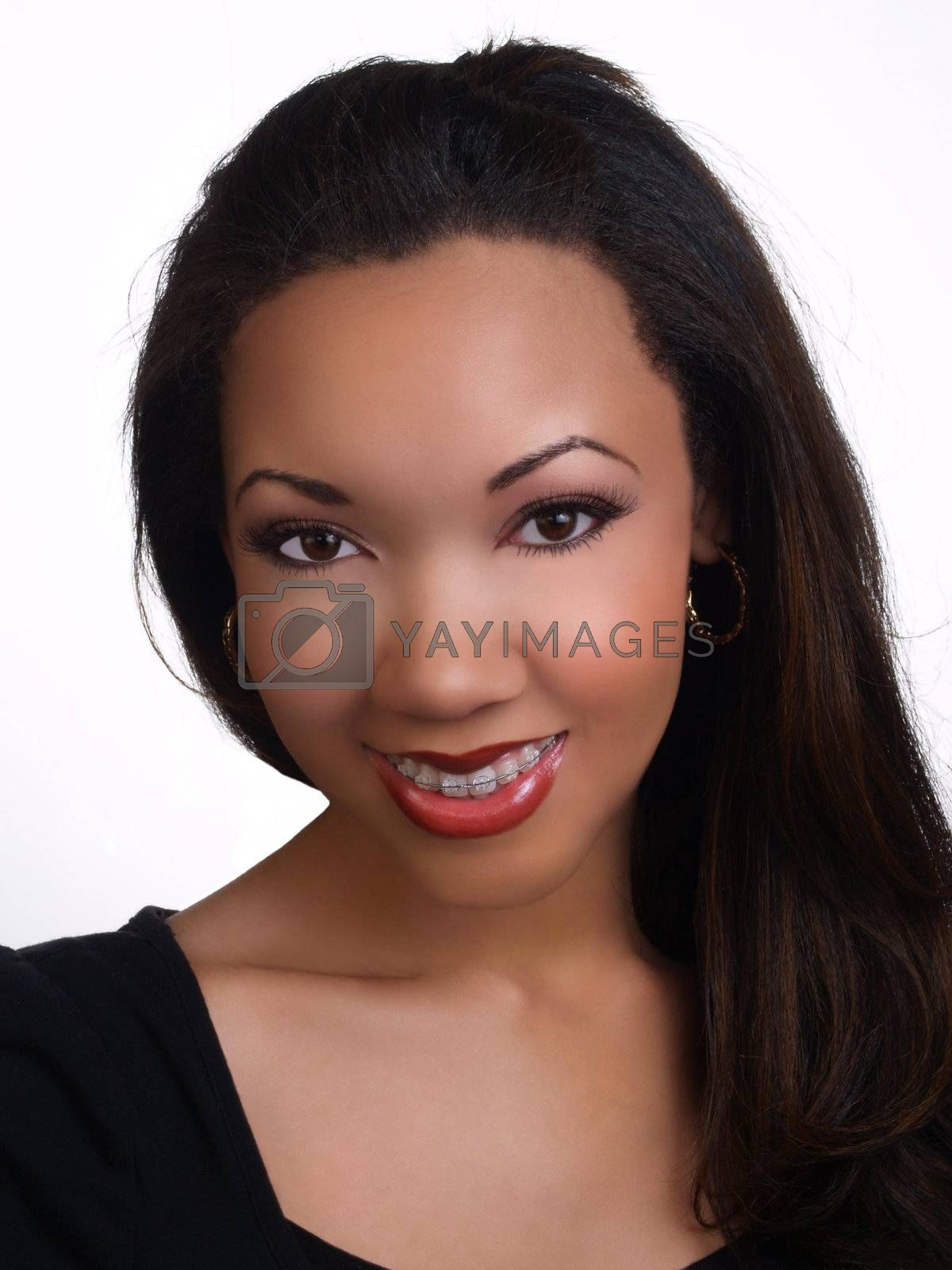 Pretty Young Black Woman with Braces