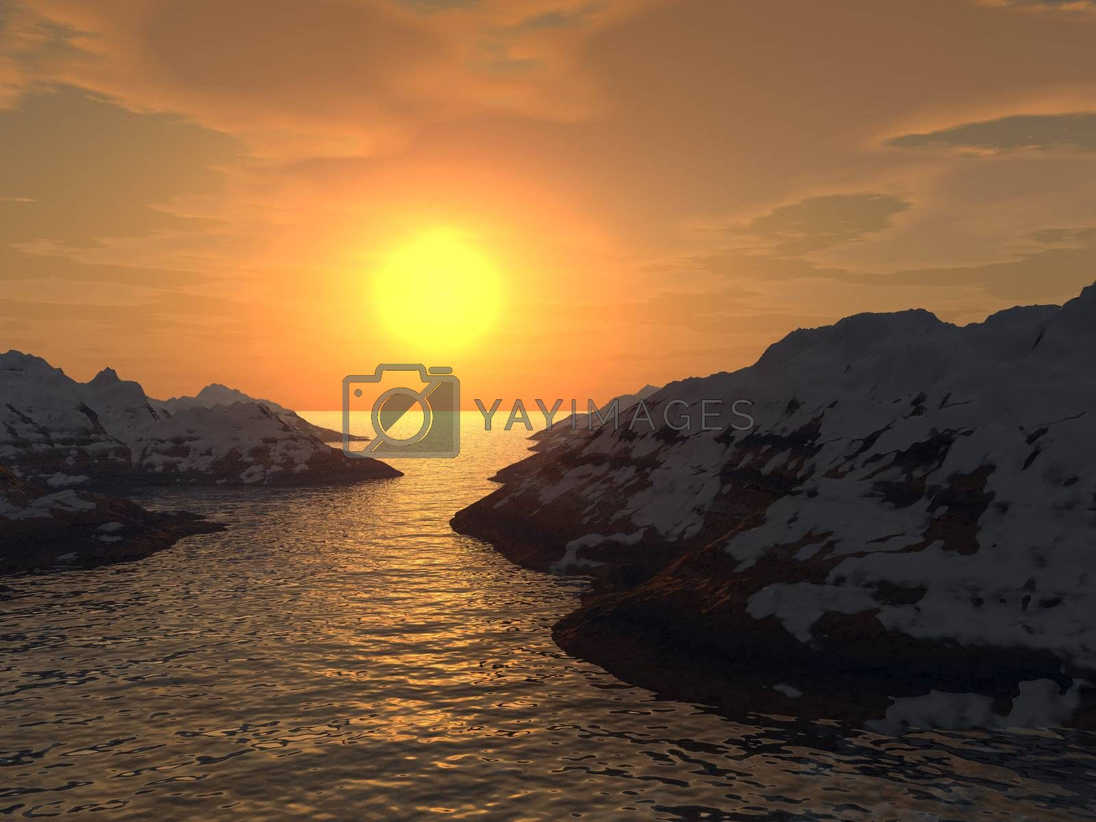Yellow sunset in a gulf. Snow tops of mountains.