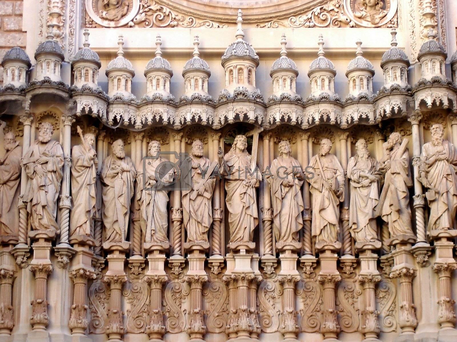 View of sculpture of the apostles outside de Sagrada Familia
