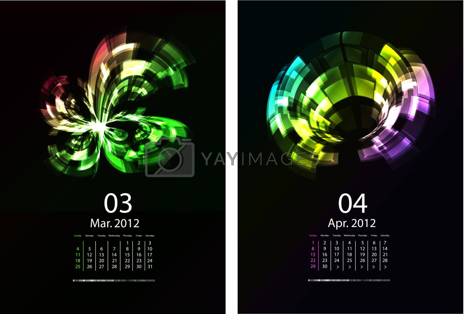 A Series Of Calendars Magic Light. March and April 2012