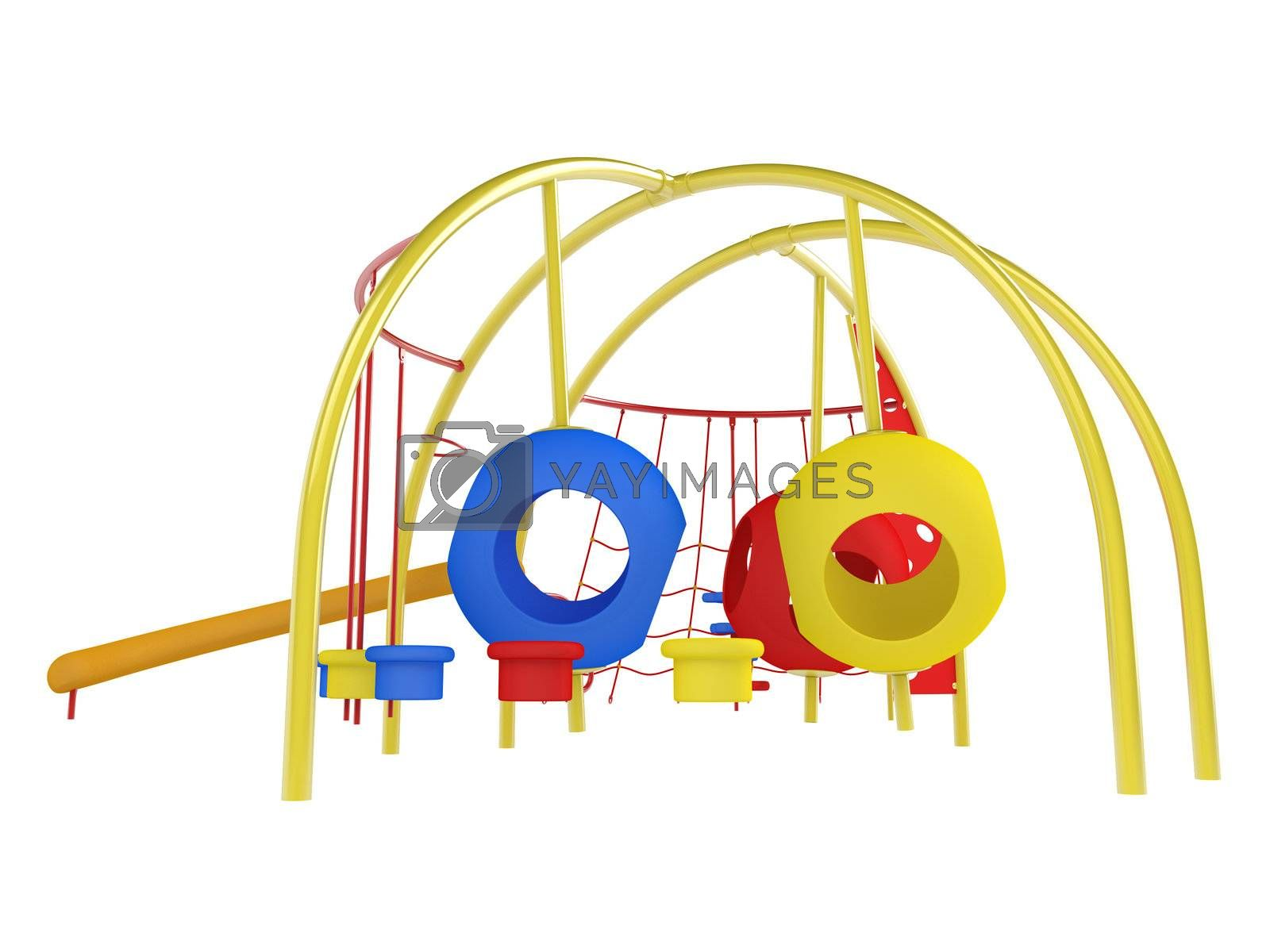 Colorful playground isolated on white background