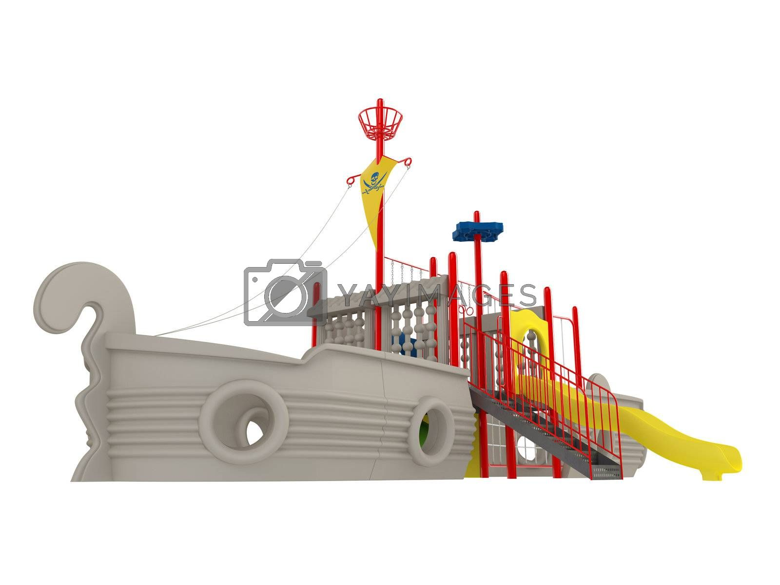 Piracy ship playground isolated on white background