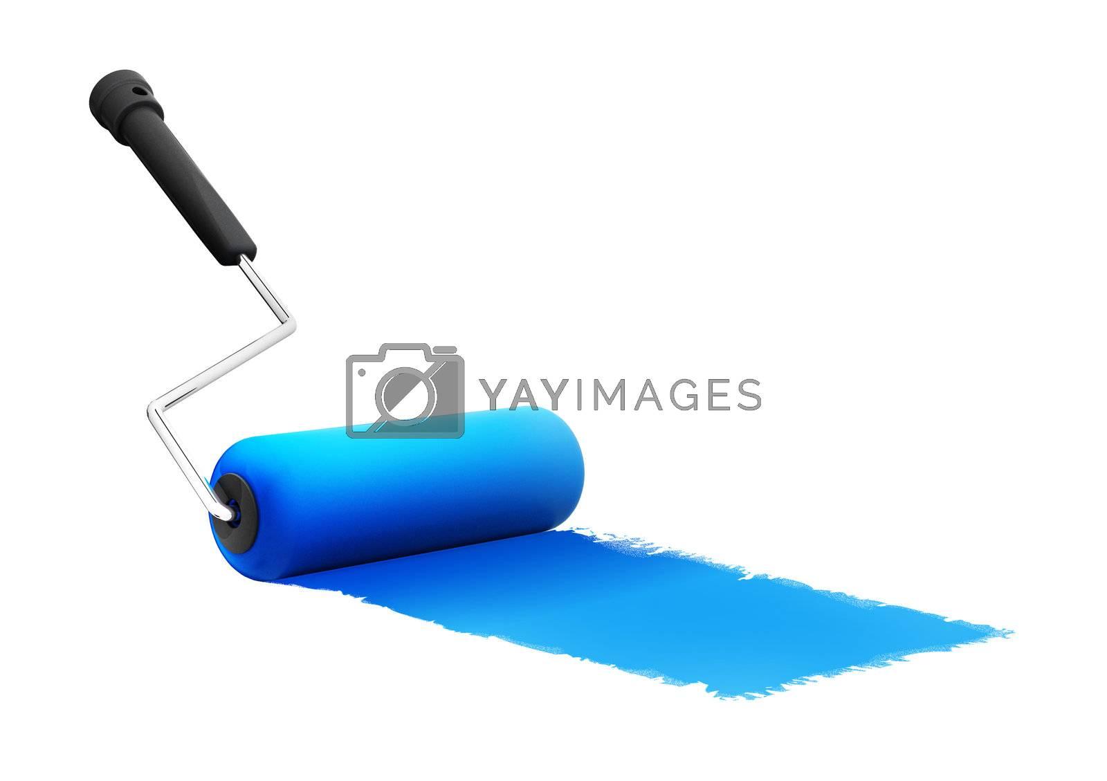 roller brush on white. 3d render illustration