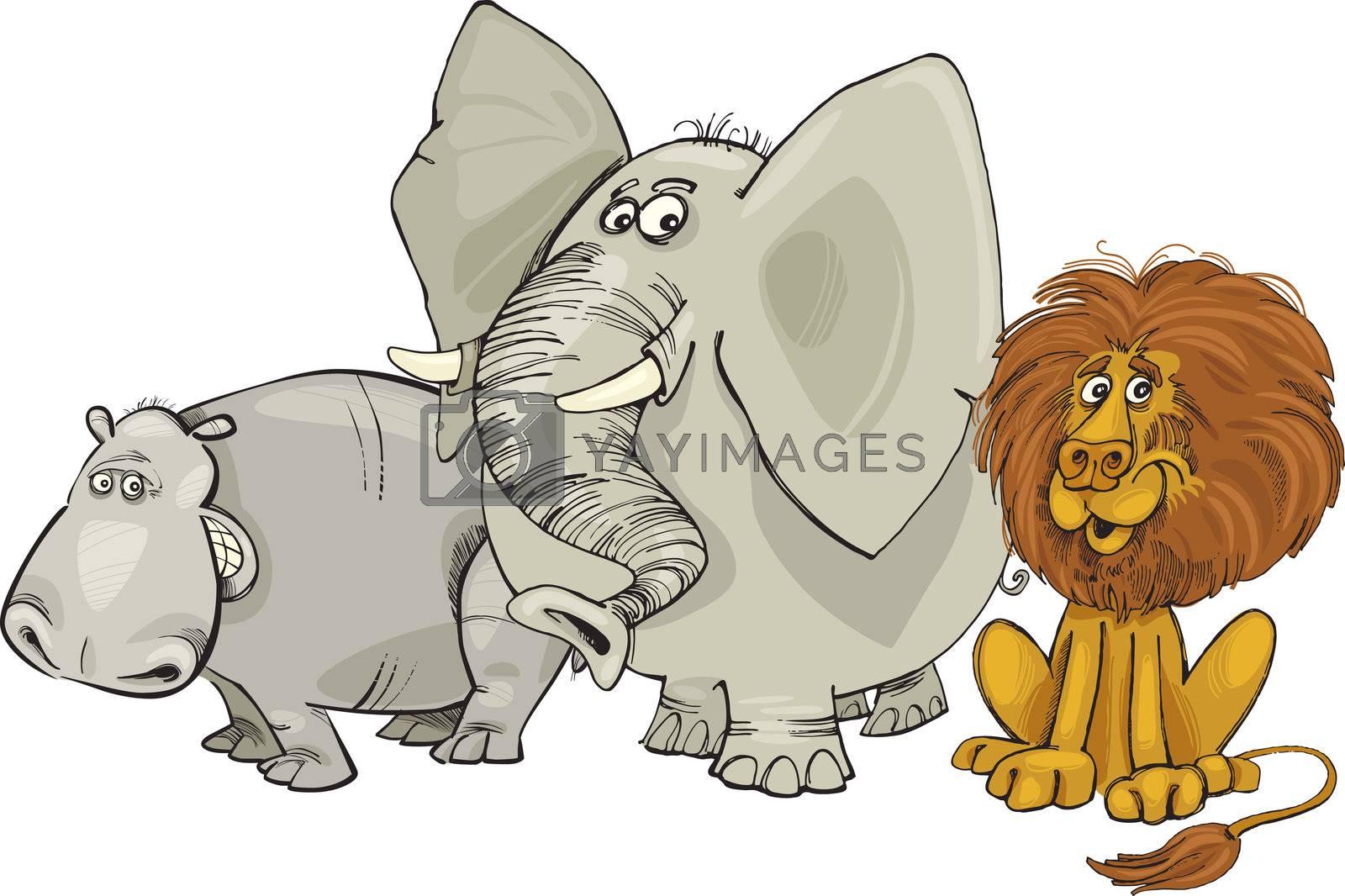 Cartoon illustration of african animals group
