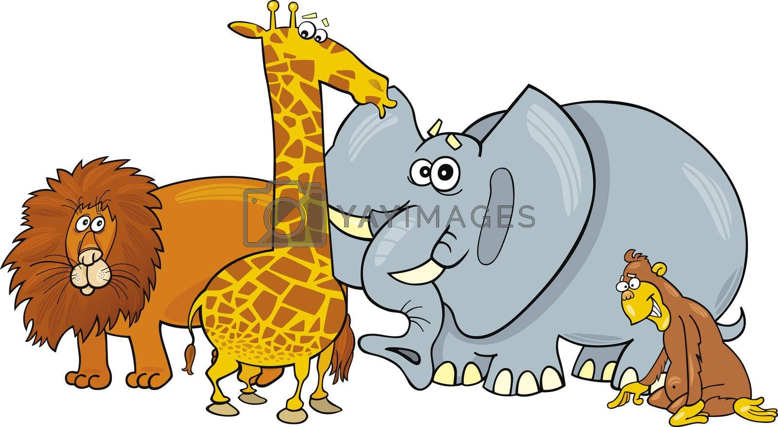 group of african animals illustration