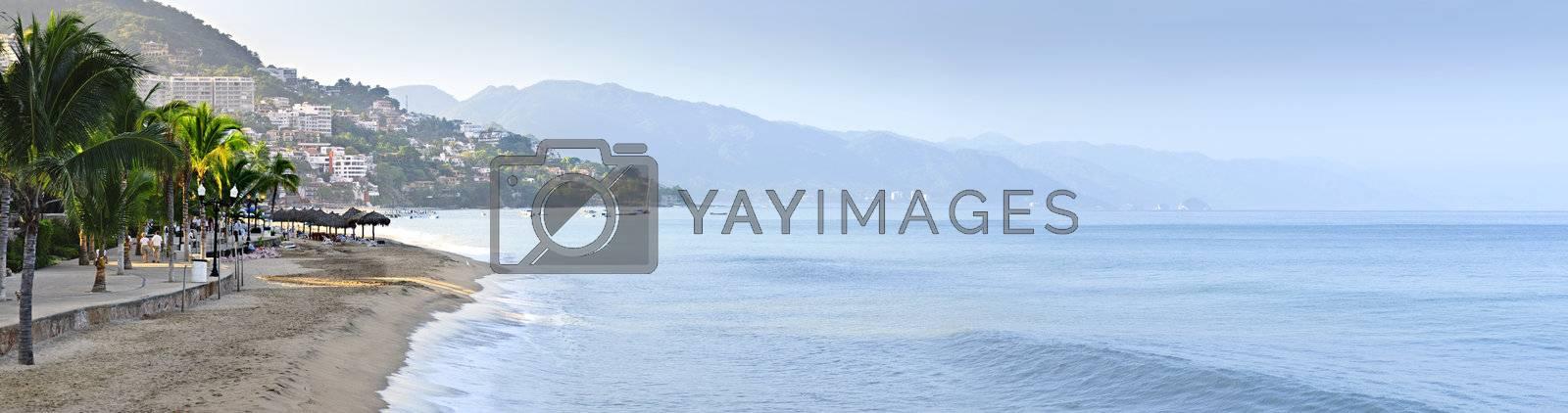 Panoramic image of beach and ocean in Puerto Vallarta, Mexico