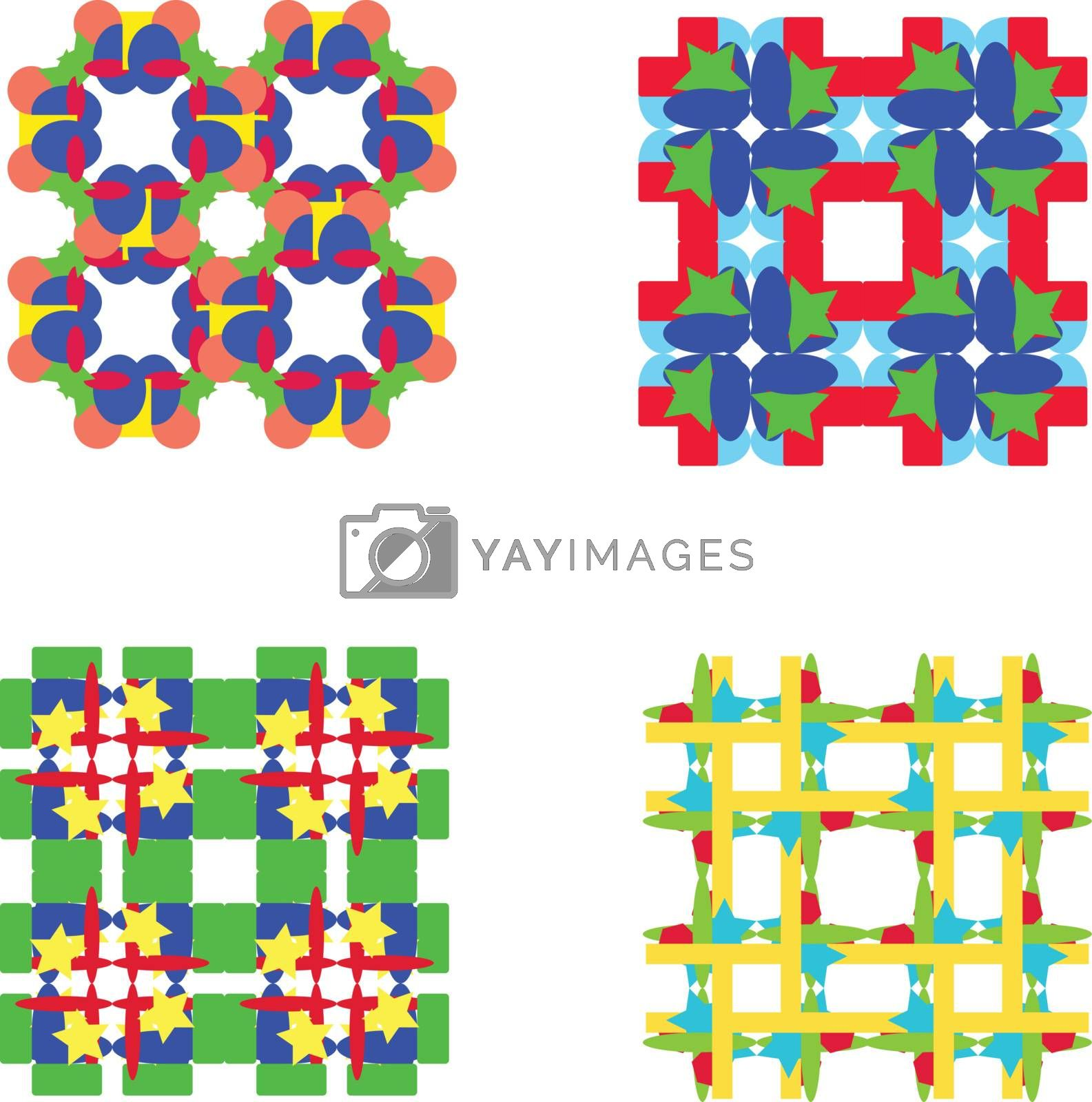 Vector set of four colorful seamless pattern