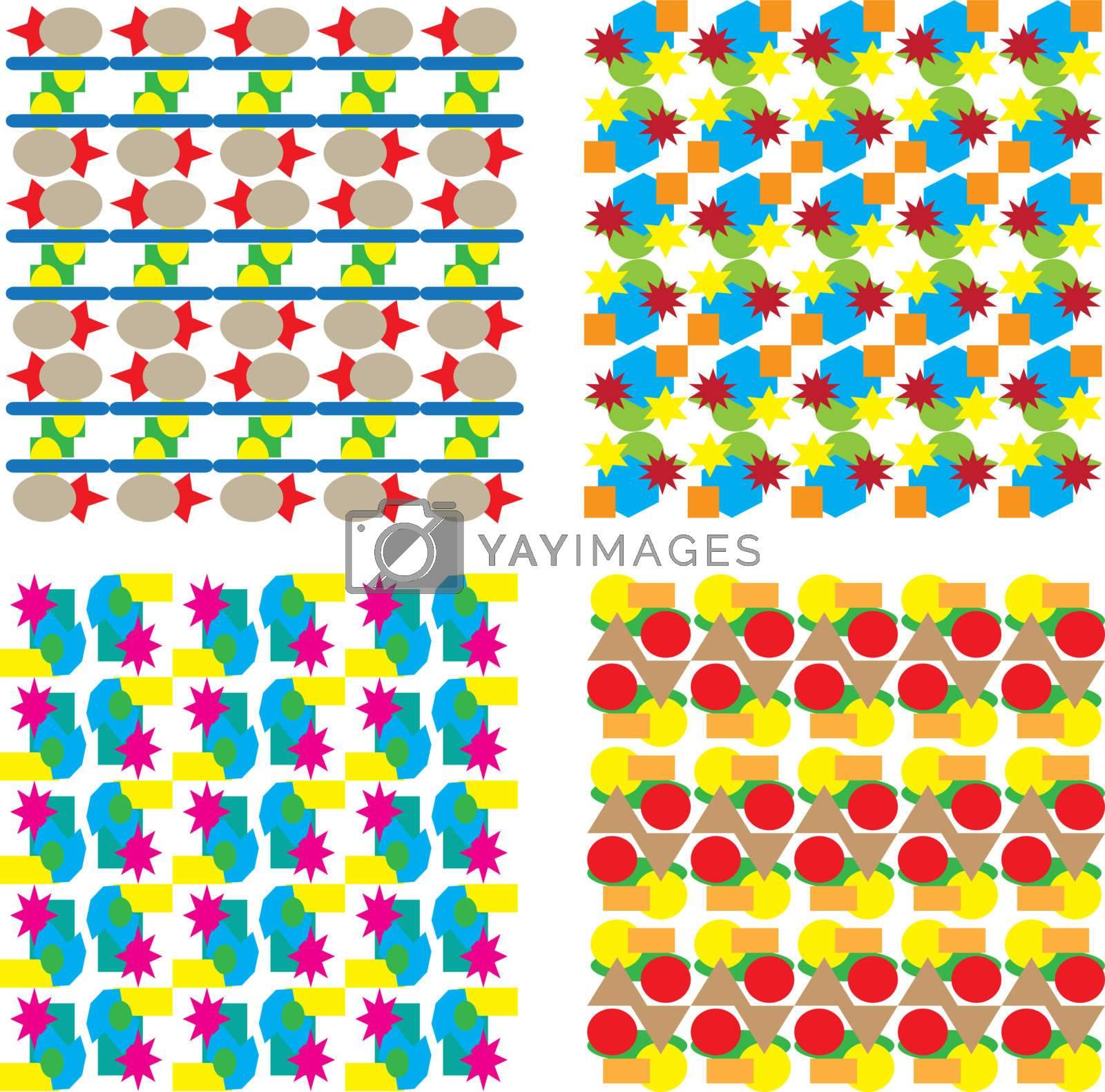 set of seamless floral background pattern. Vector illustration