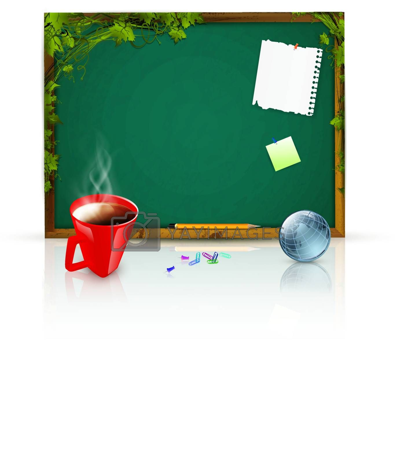 education theme: blackboard with message papers, pencil over green leaves; globe and cup of coffee near it
