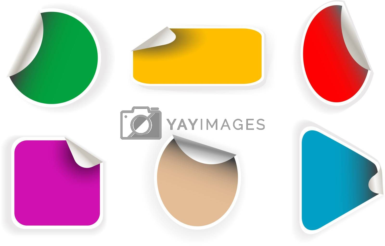 set of vector empty sticker with shadow