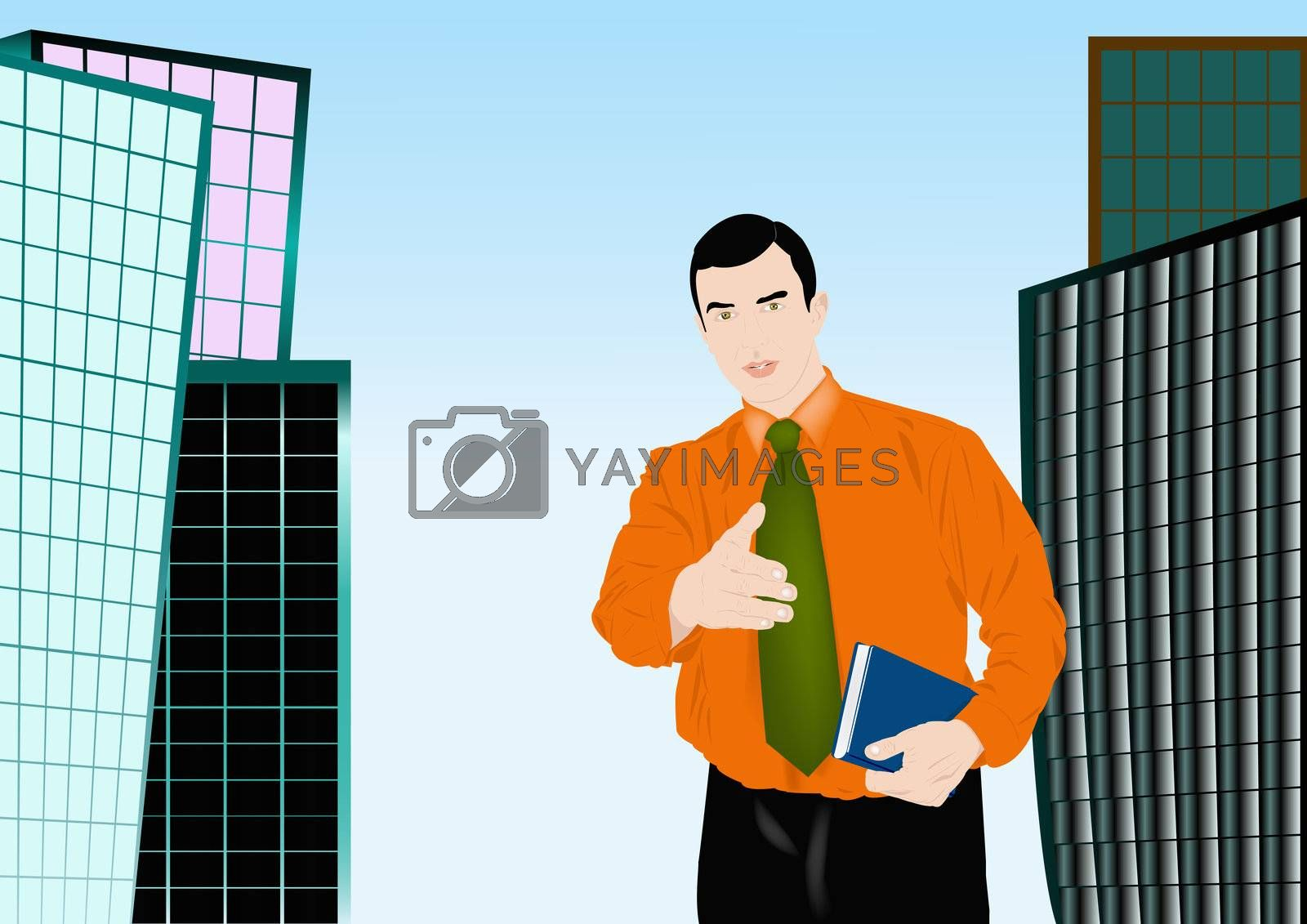 The successful businessman offers business cooperation and guarantees financial success