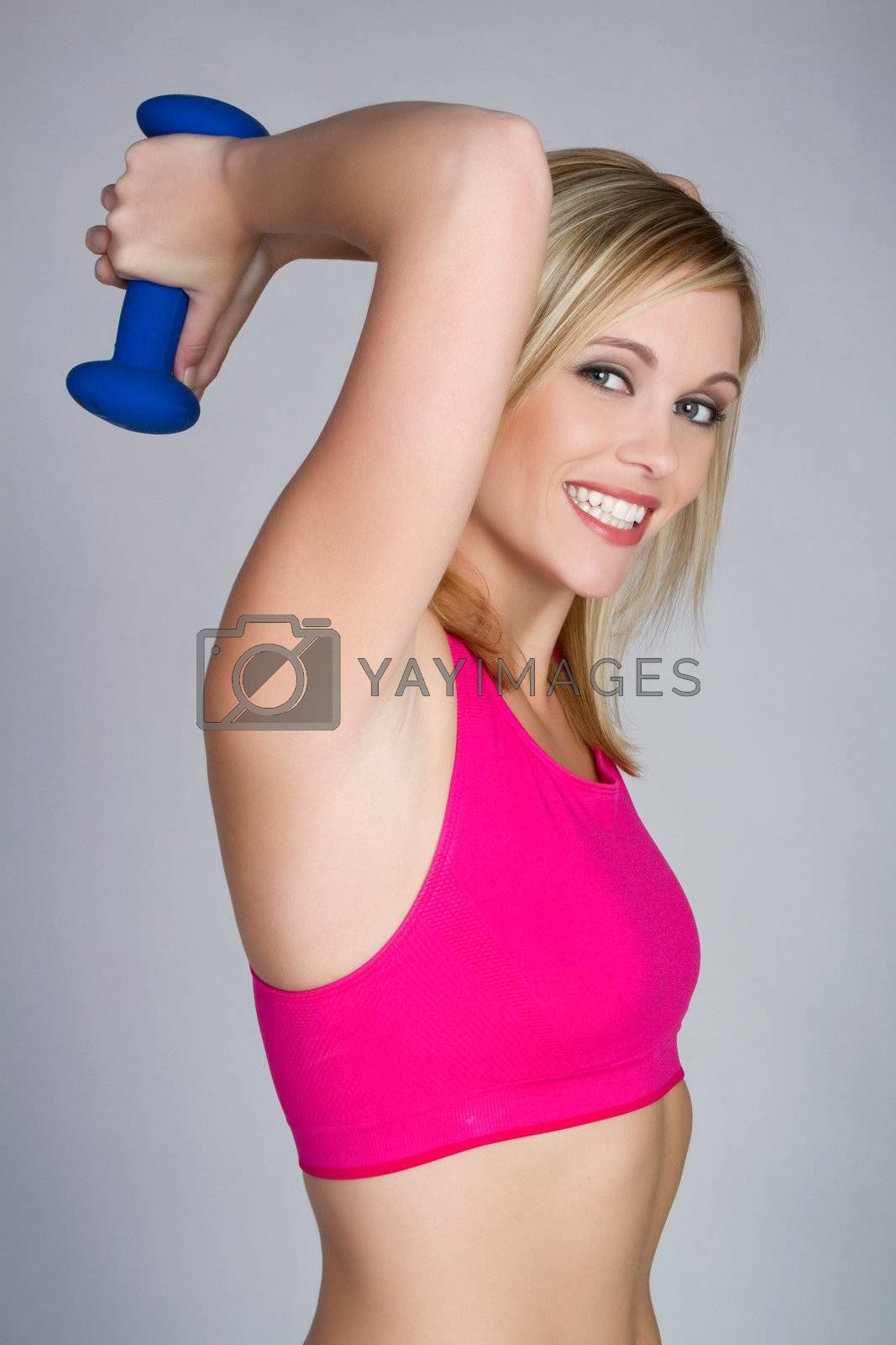 Exercising fitness weight lifting woman