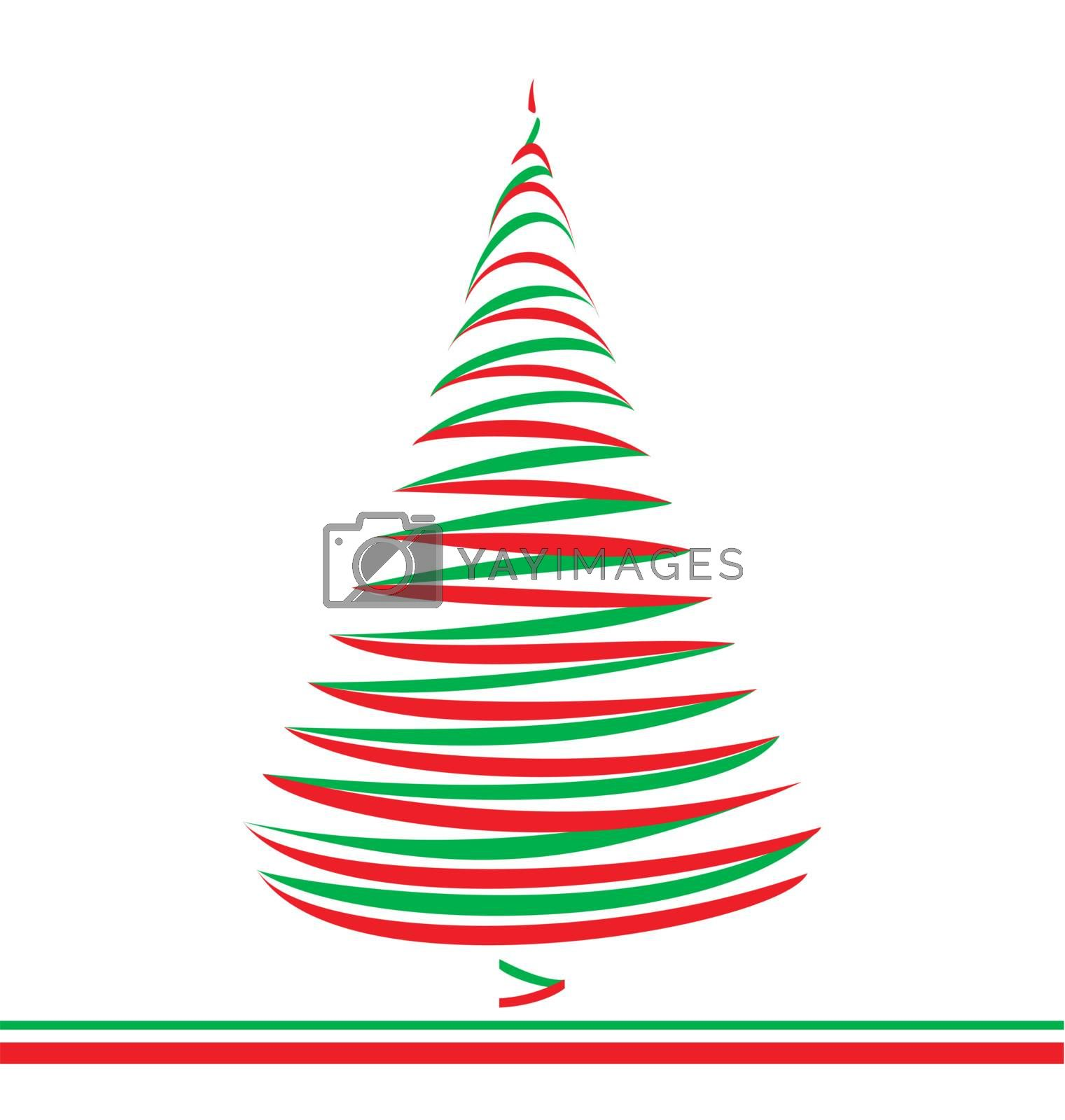 Abstract christmas tree in green and red lines