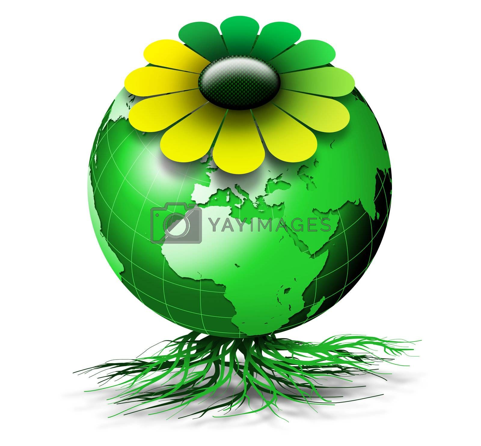 Organic green globe with colored petals and roots