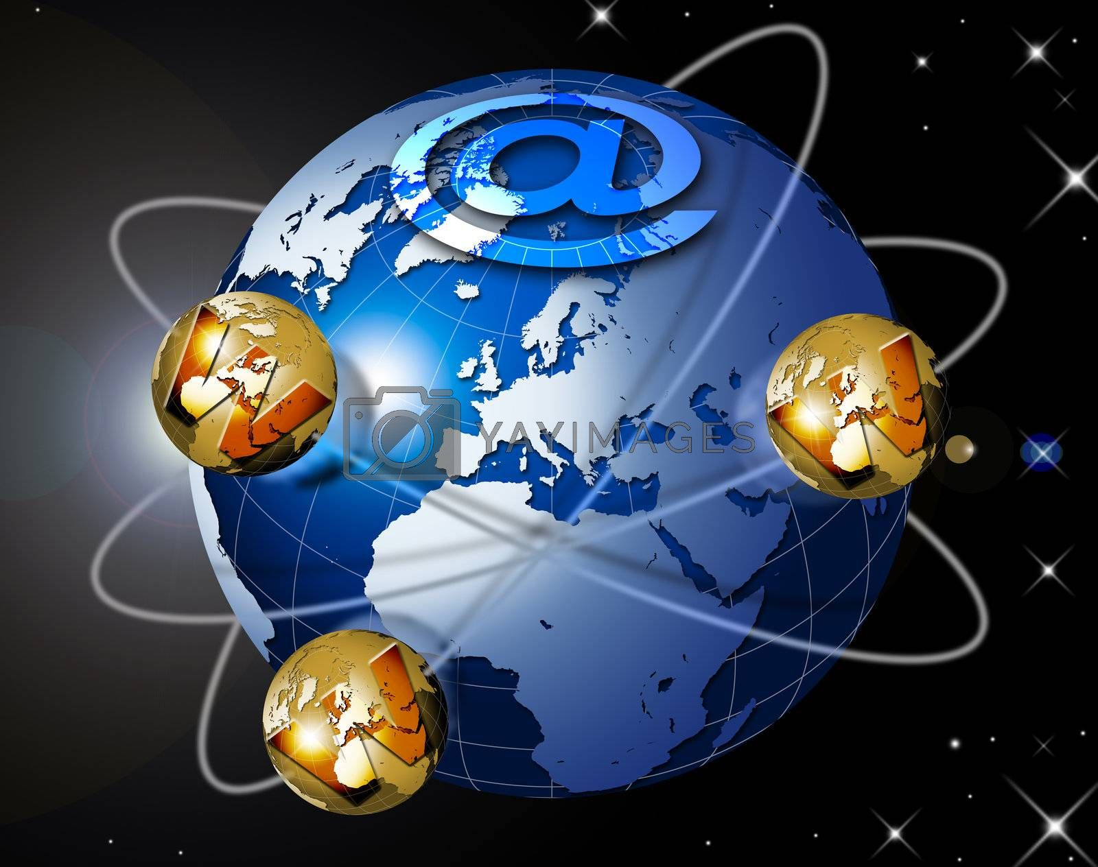 Illustration symbol www and internet with blue terrestrial globe, planets and stars