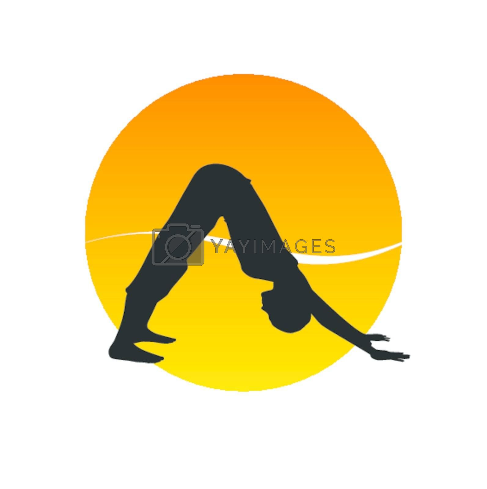 Vector illustration of a woman in yoga asana